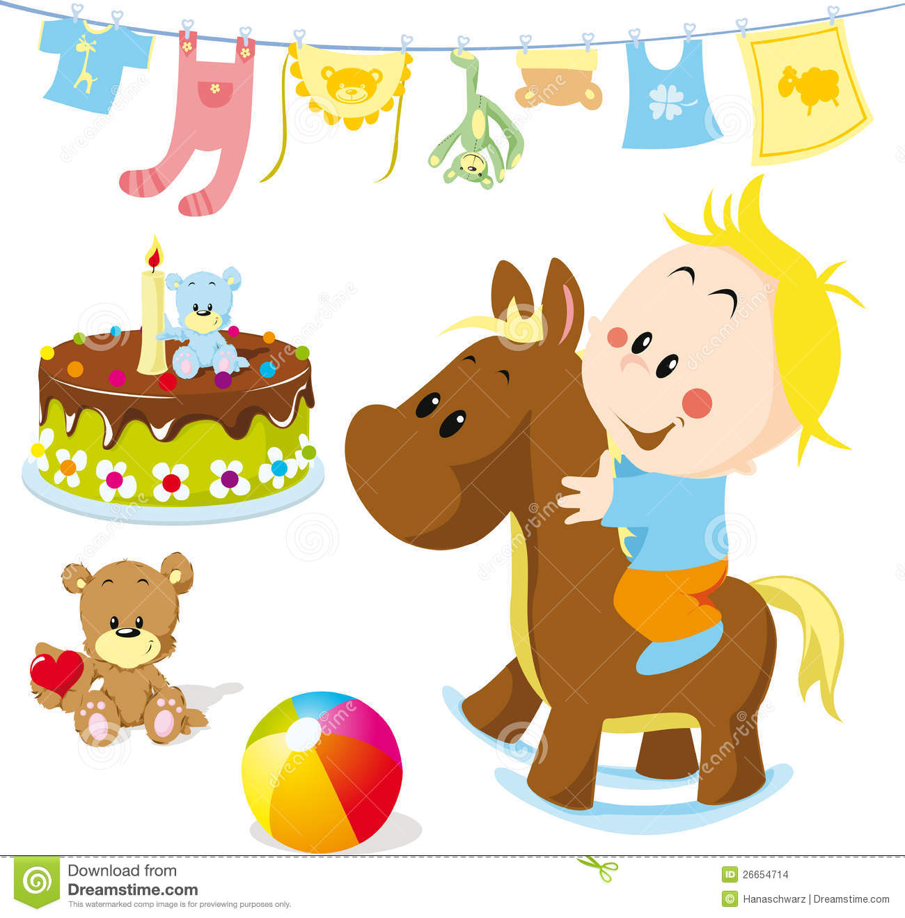 Baby On Rocking Horse Stock Images - Image: 26654714