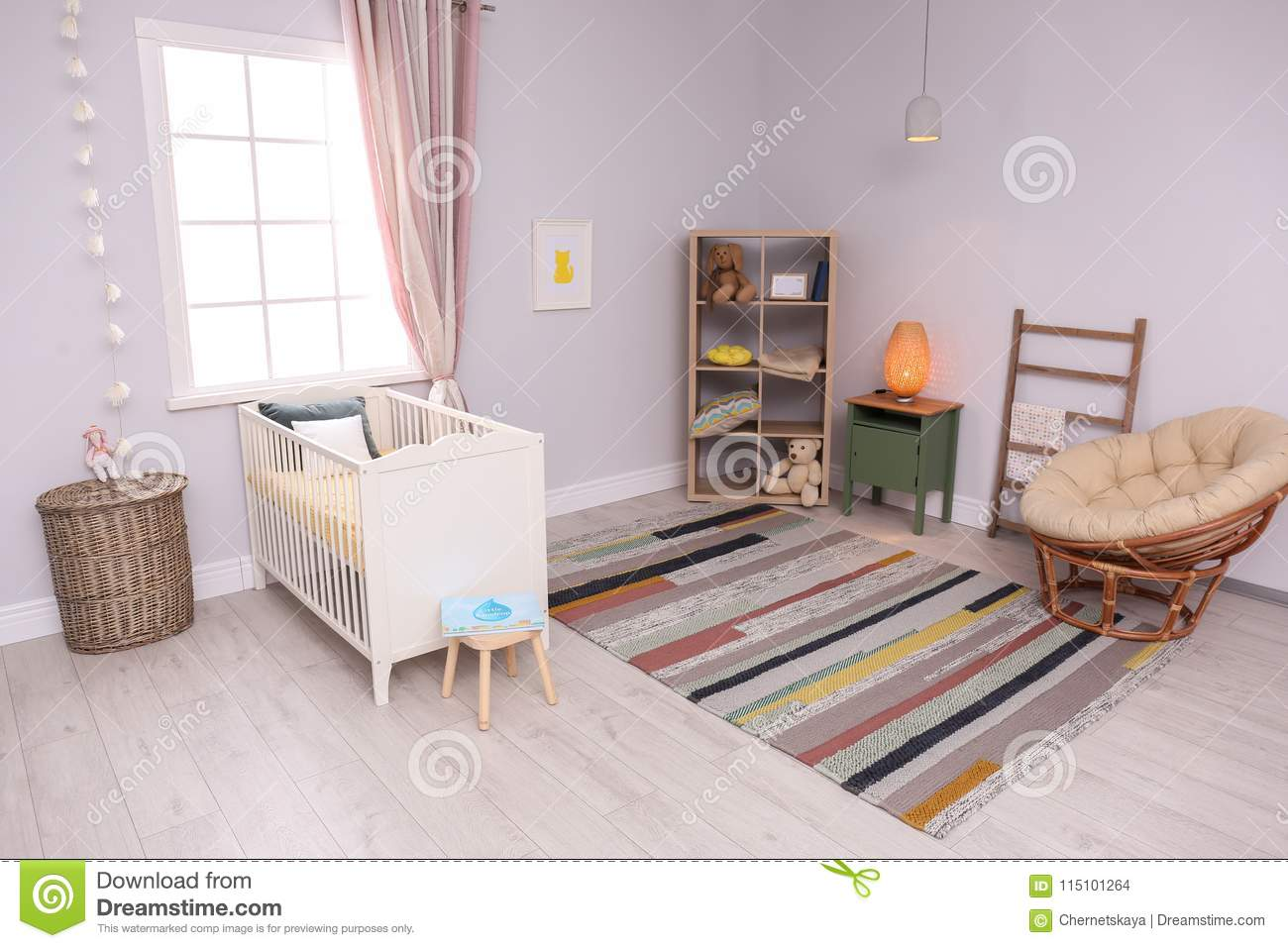 Download Baby Room Interior With Comfortable Crib Stock Photo   Image Of  Girl, Background: