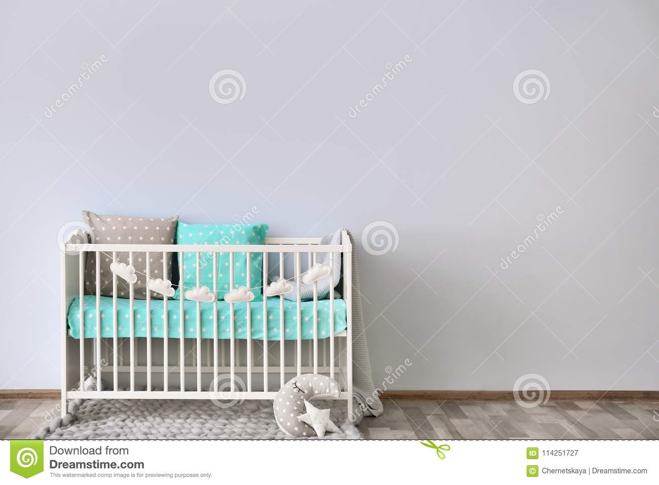 Baby room interior with crib wall