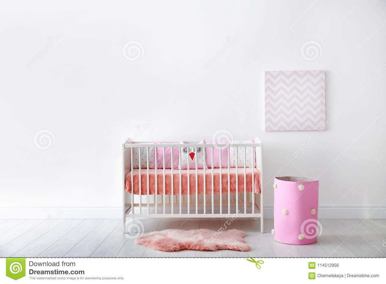 Baby room interior with crib