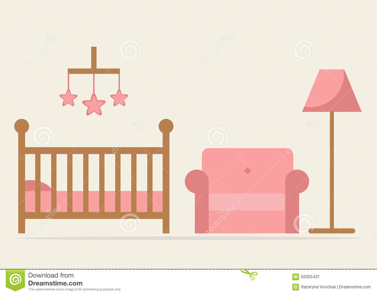 Baby Room Interior Design Crib Armchair And Lamp In Blue