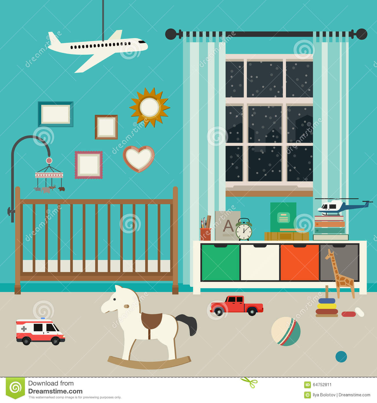 Baby Room Interior Stock Vector Image 64752811