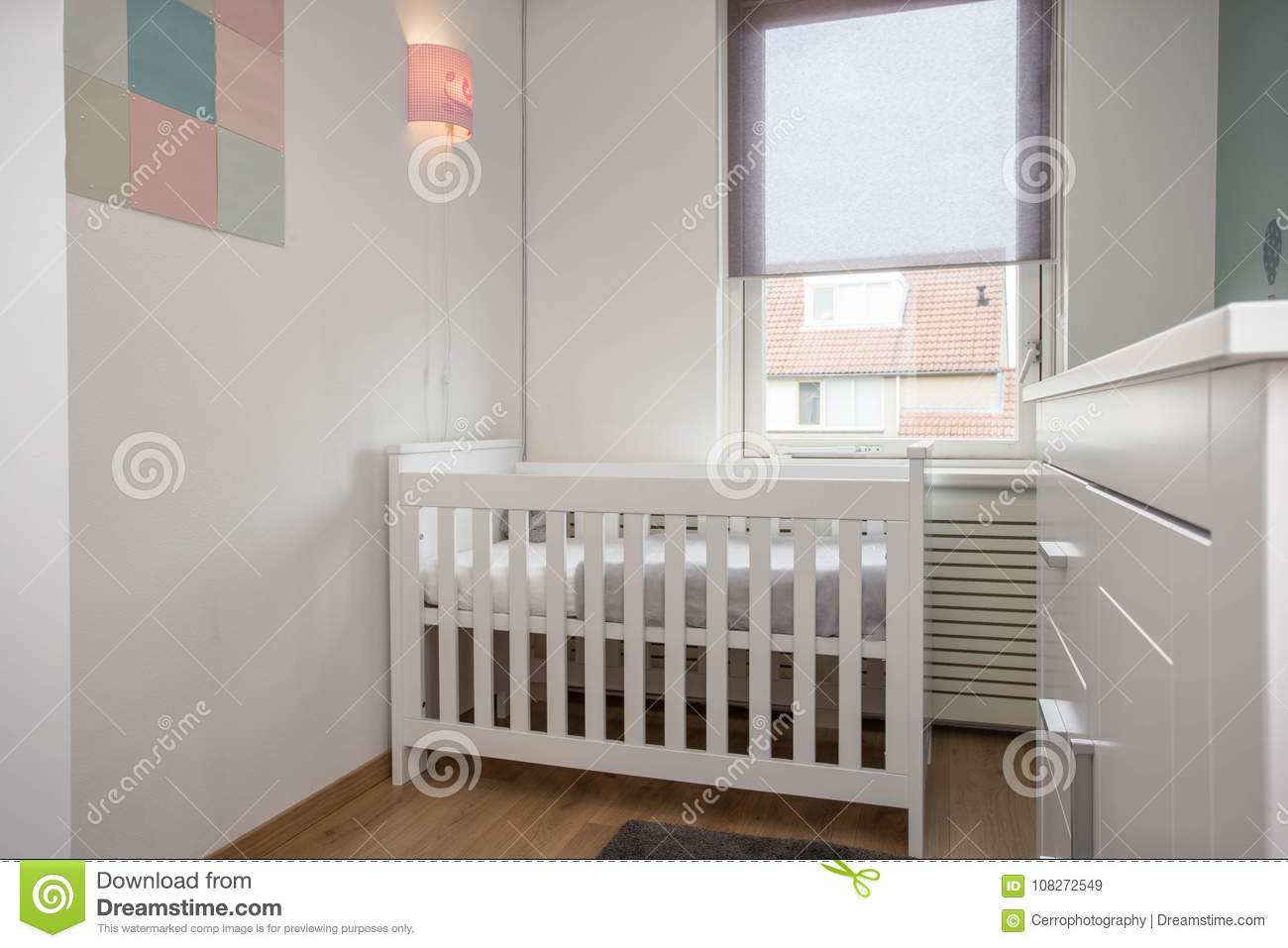 Baby Room Interior Modern Style With Baby Crib Stock Image ...
