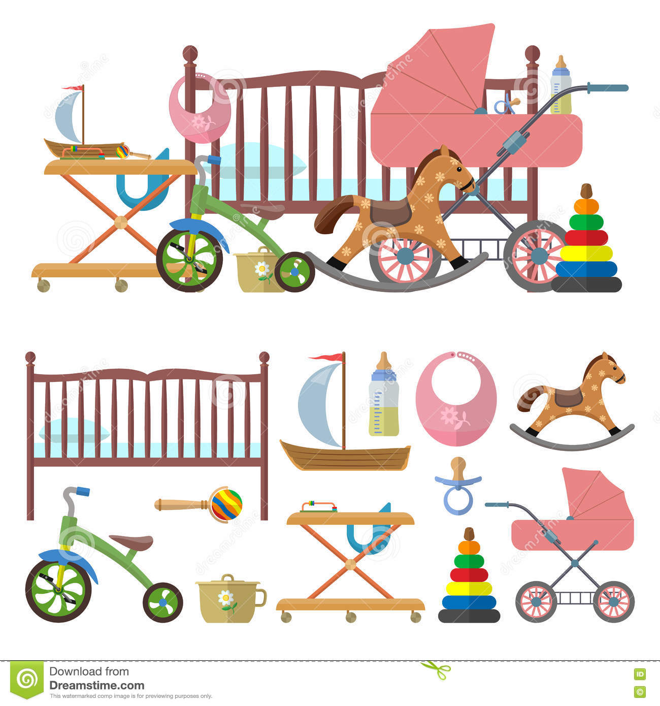 Kids Room Decoration Space Theme Vector Illustration: Baby Room Interior And Vector Set Of Toys For Kids