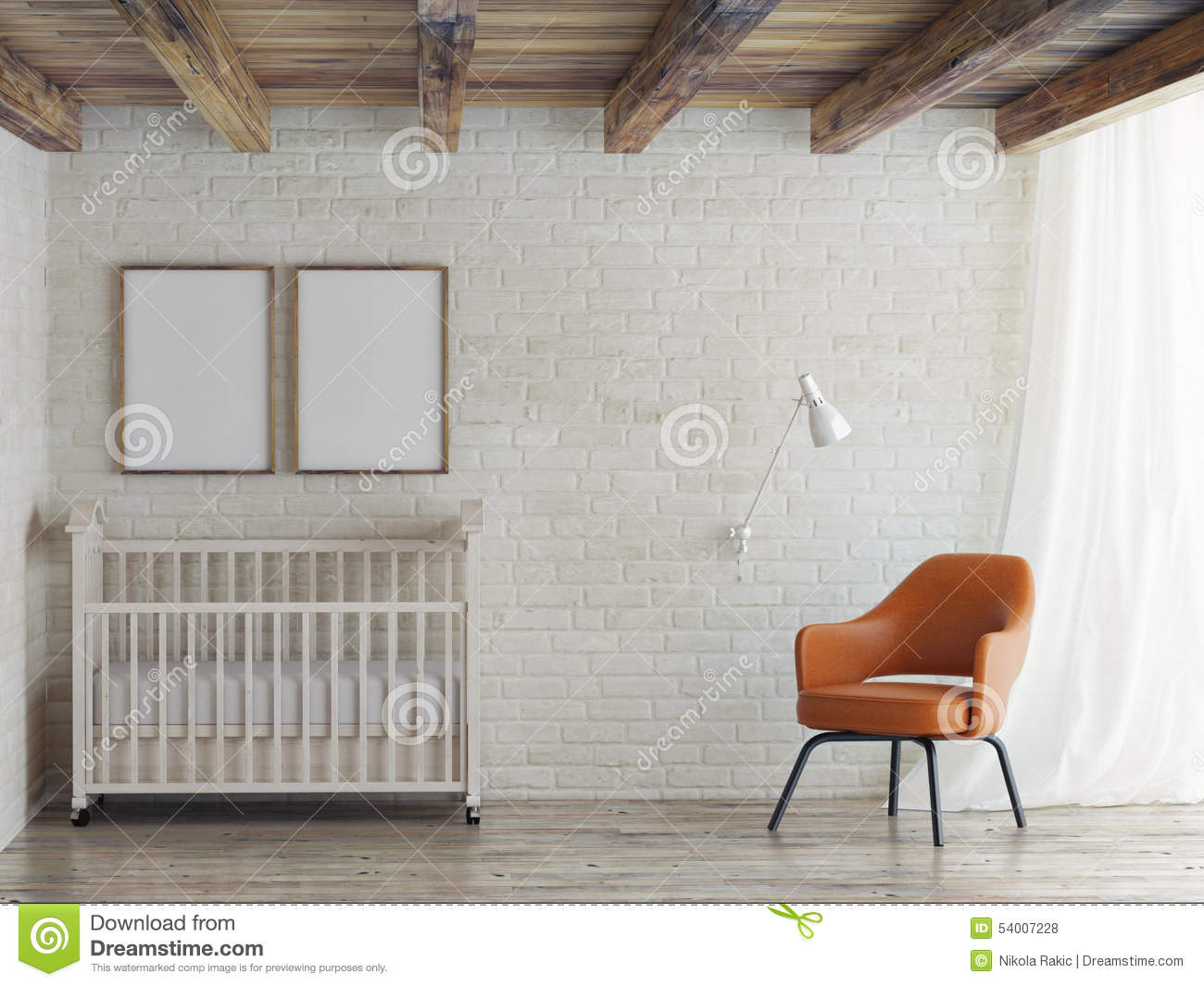 Baby Room Mock Up Poster On Brick Wall 3d Illustration