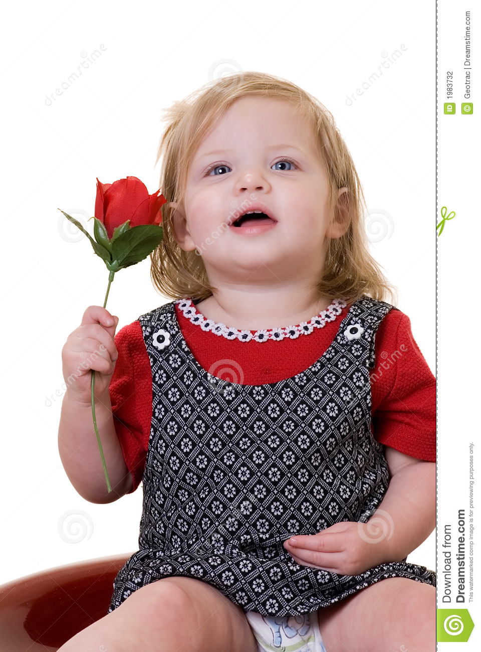 Cute Girl With Rose Cute Baby Girl With Red Rose