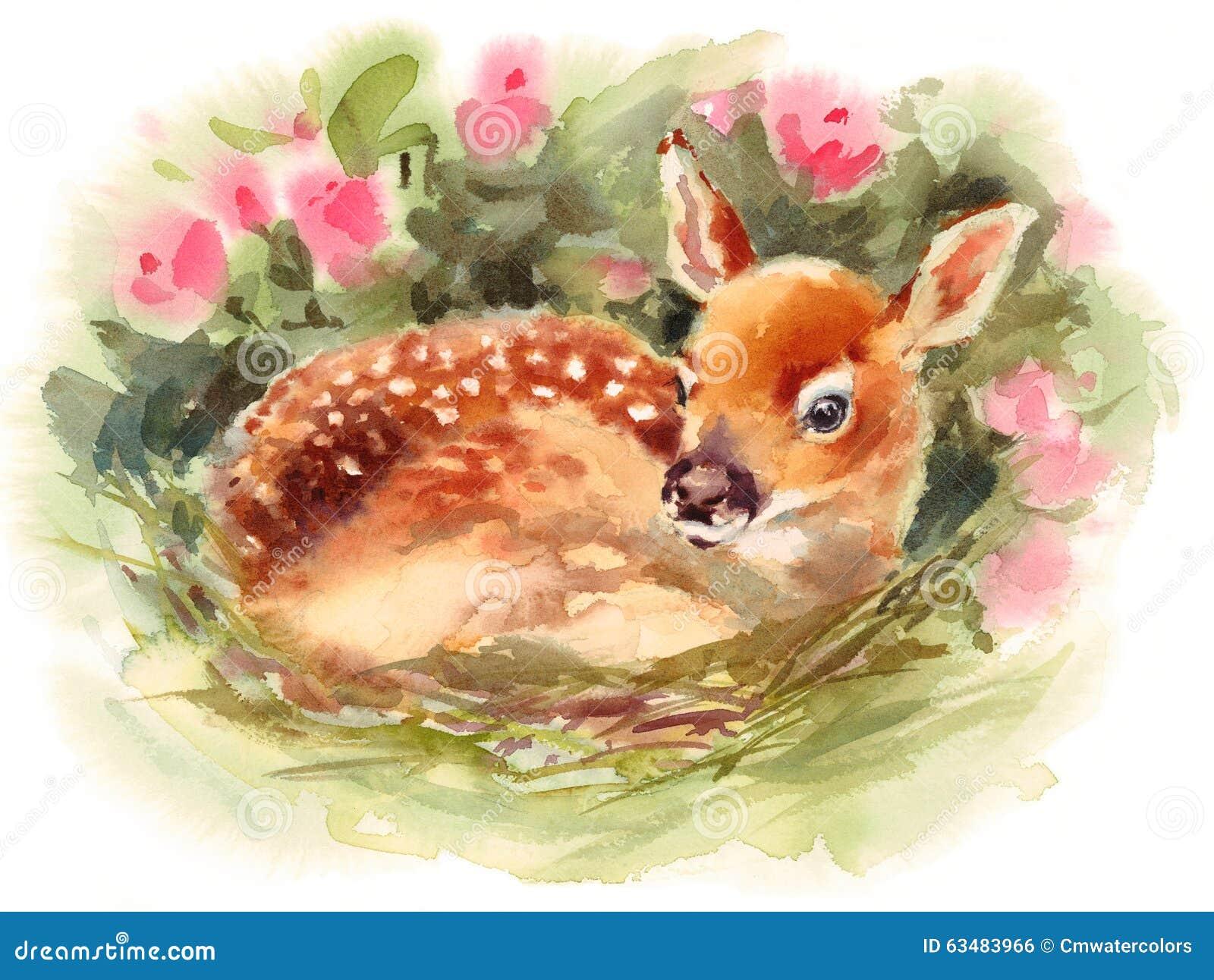 Baby-Rotwild umgeben durch Blumen Aquarell Fawn Animal Illustration Hand Painted