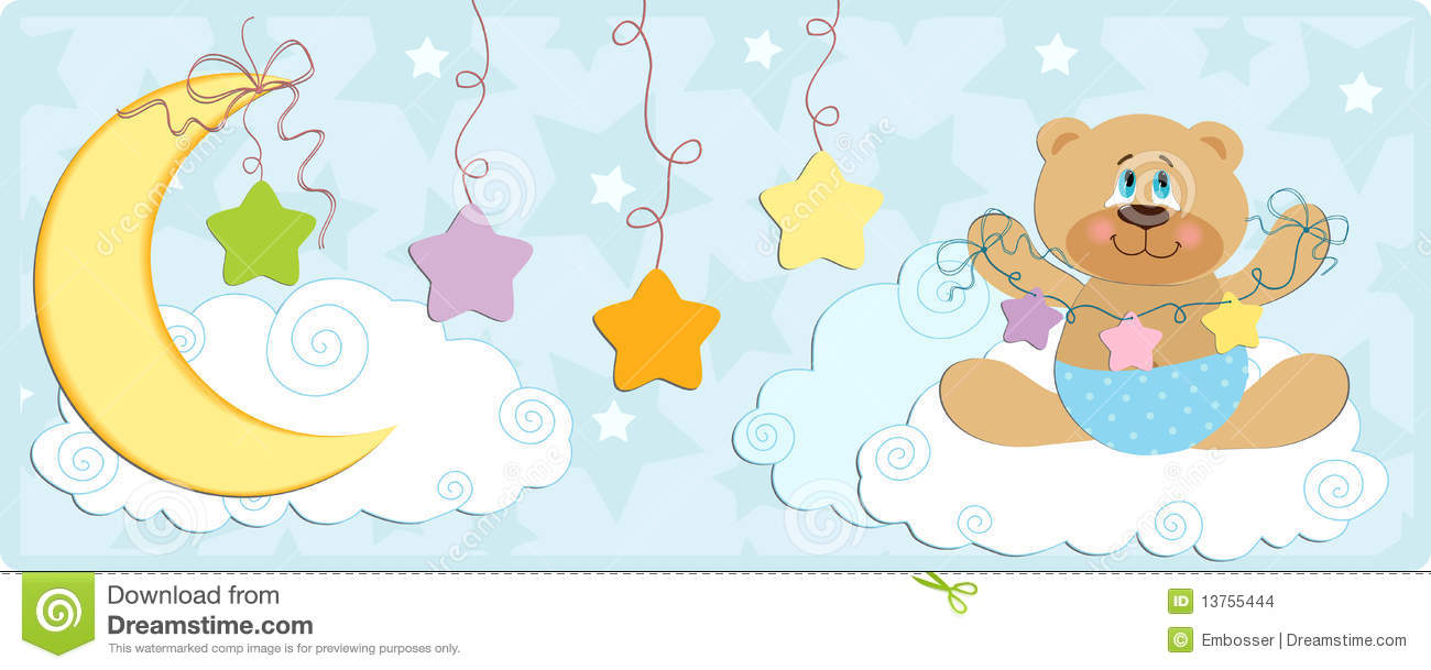 Baby's Banner With Bear In Blue Colors Stock Images - Image: 13755444