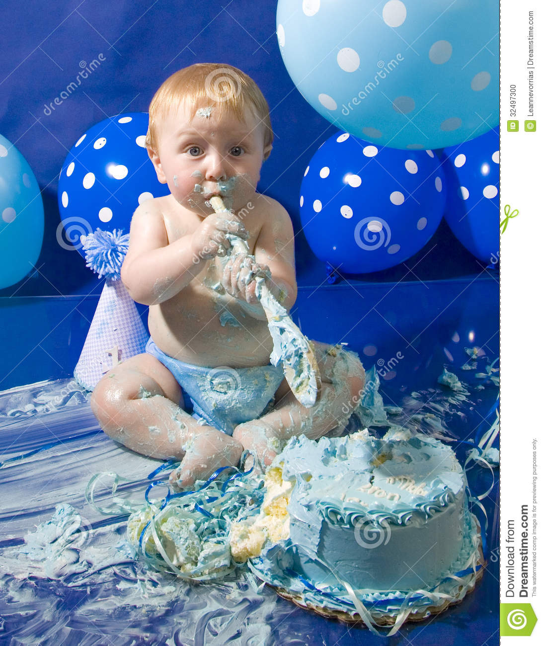 Baby's First Birthday Cake Stock Photo. Image Of Messy