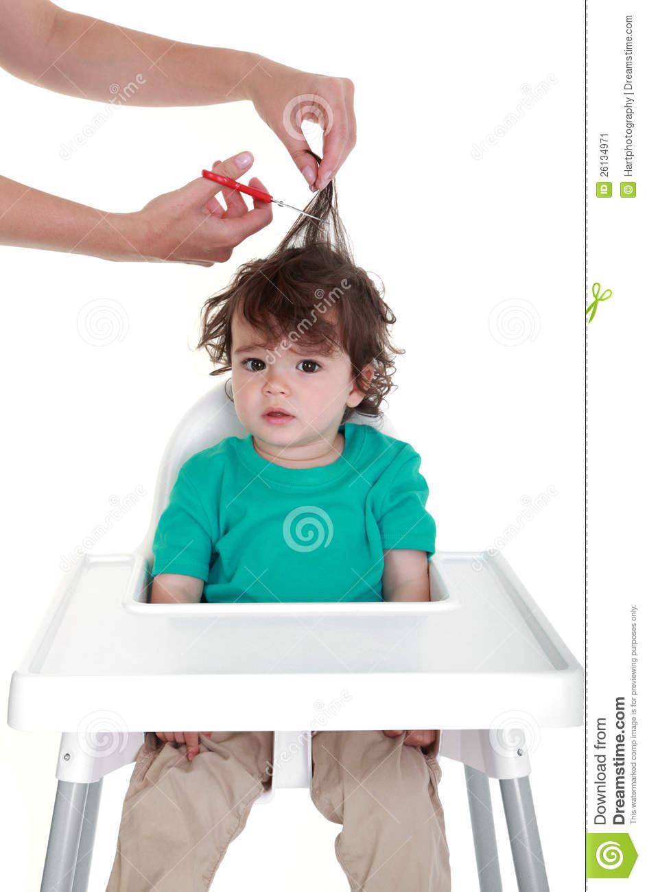 Babys First Haircut Stock Image Image Of Humour Hairdresser
