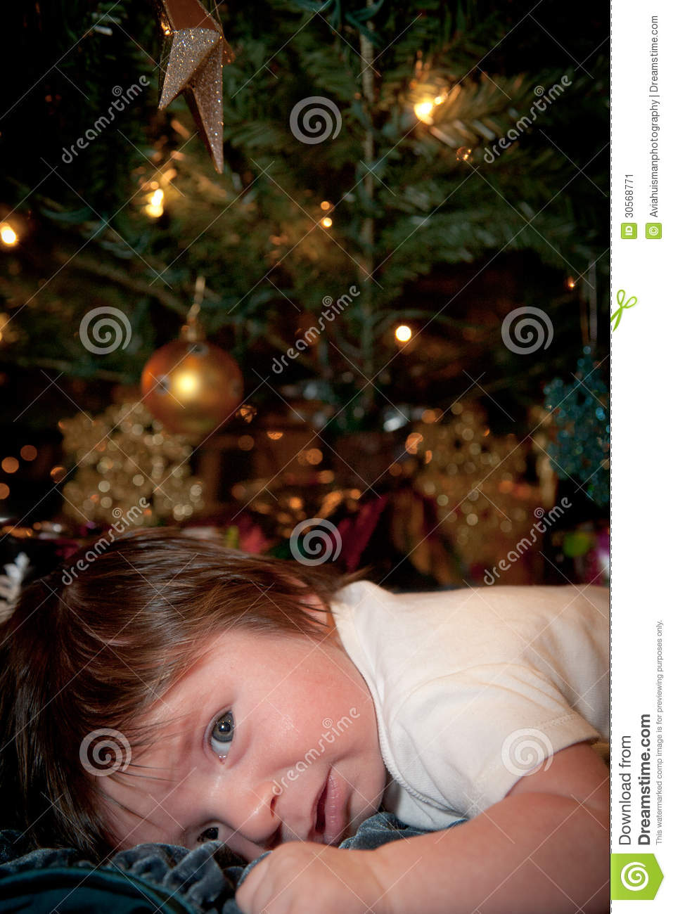 Baby S Holiday Stress Stock Image Image 30568771