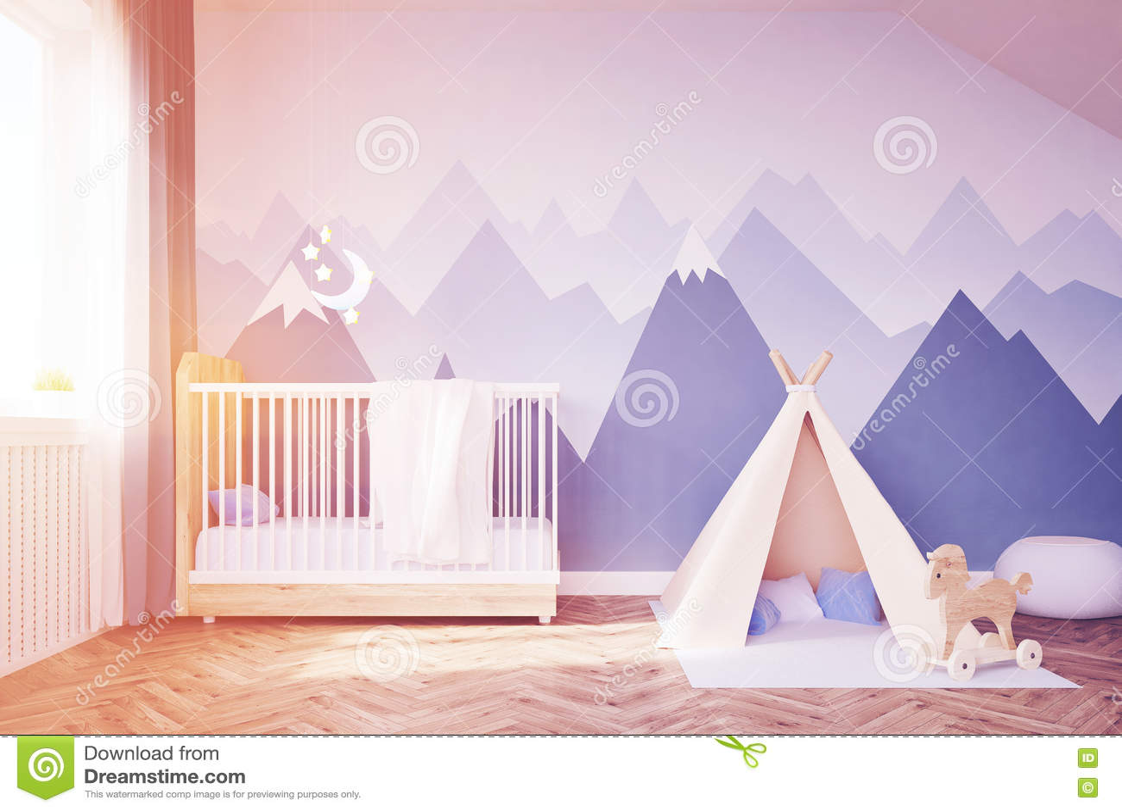 baby s raum mit einem bett und einem zelt getont stock abbildung bild 82206482. Black Bedroom Furniture Sets. Home Design Ideas
