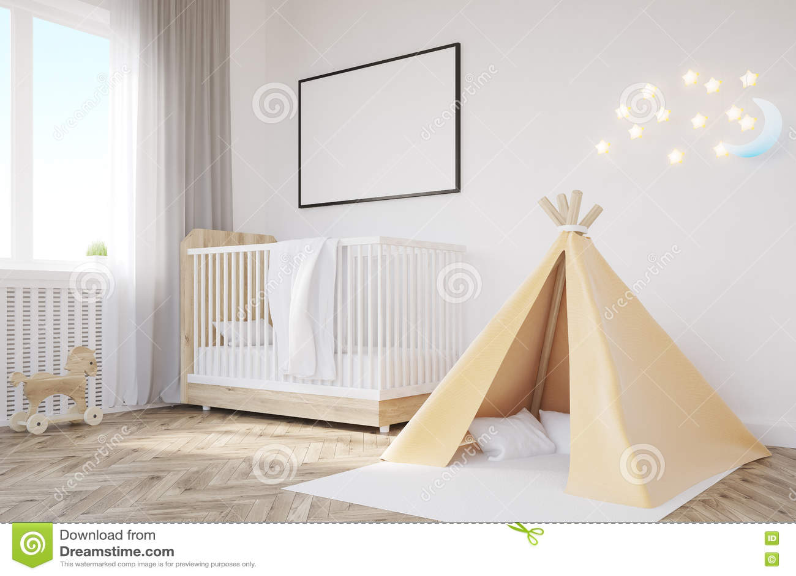 Crib tent & Baby`s room. Crib tent stock illustration. Illustration of bright ...
