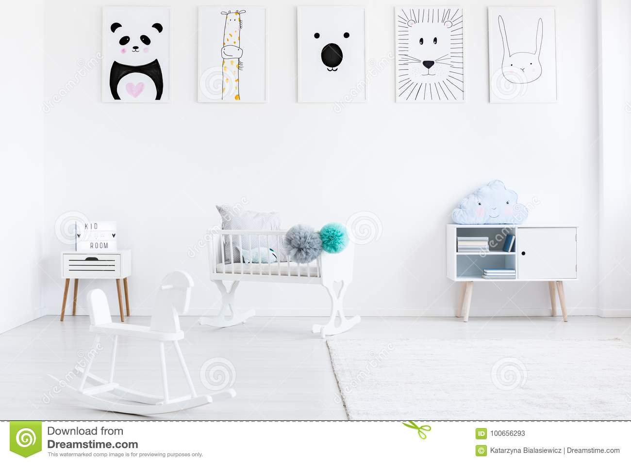 Baby`s room with rocking horse