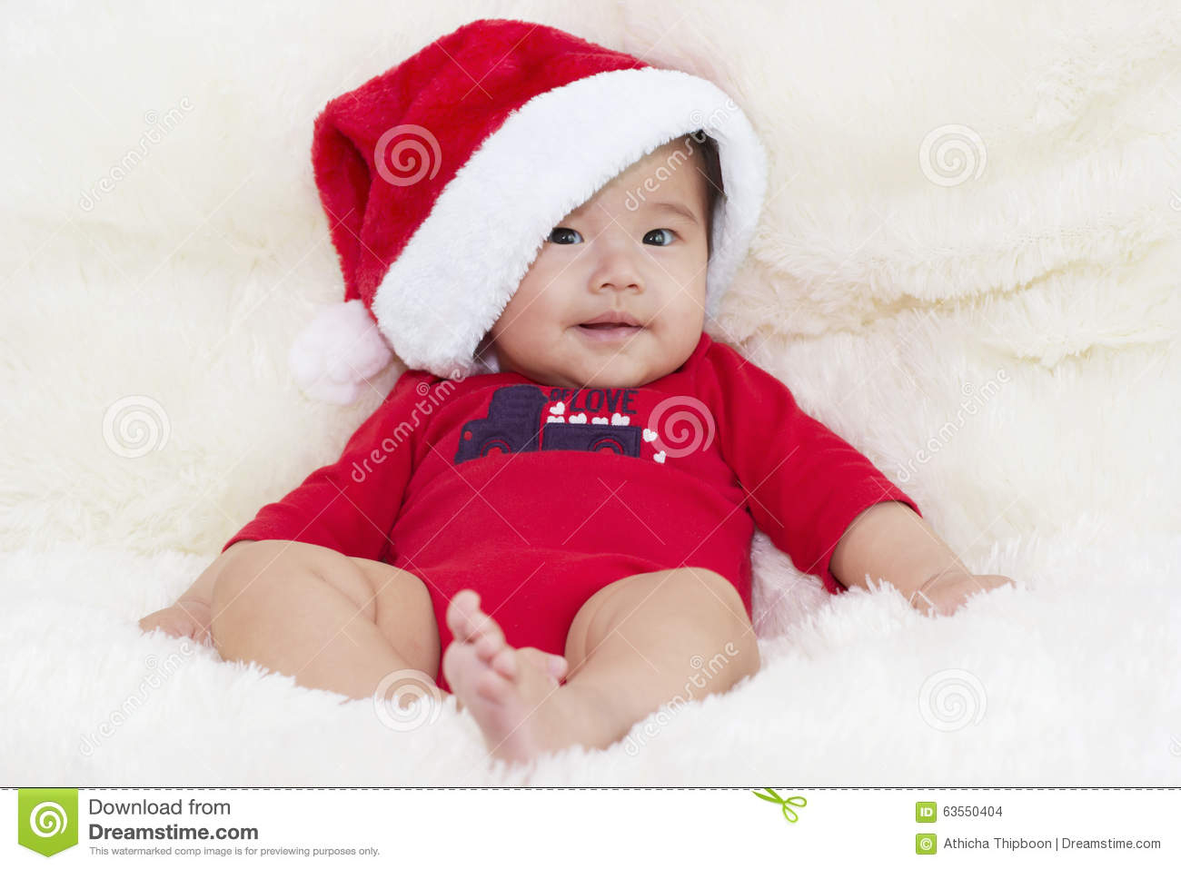 42d507f86 Baby With Santa Hat. Merry Christmas And A Happy New Year With A ...