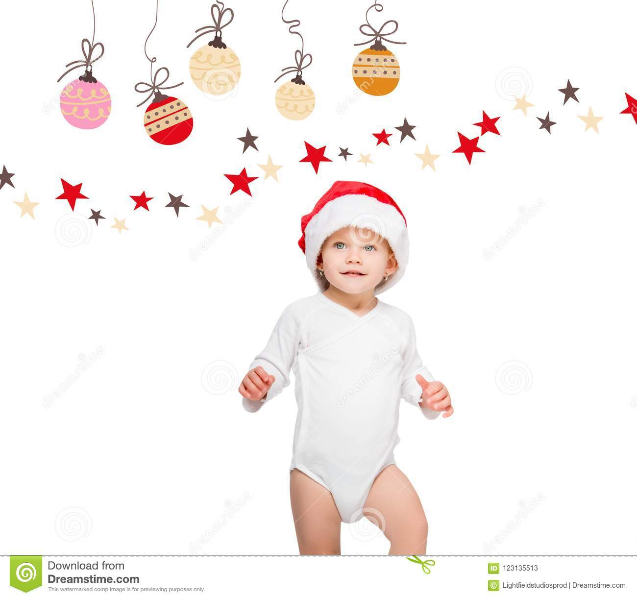 8b86ab1f1f3 portrait of happy baby in santa hat and bodysuit isolated on white