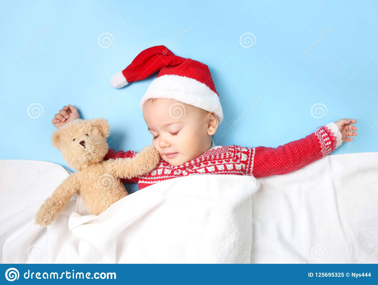 4630f97dfd6 Baby In Santa Hat Sleeping Empty Copy Space. Stock Image - Image of ...