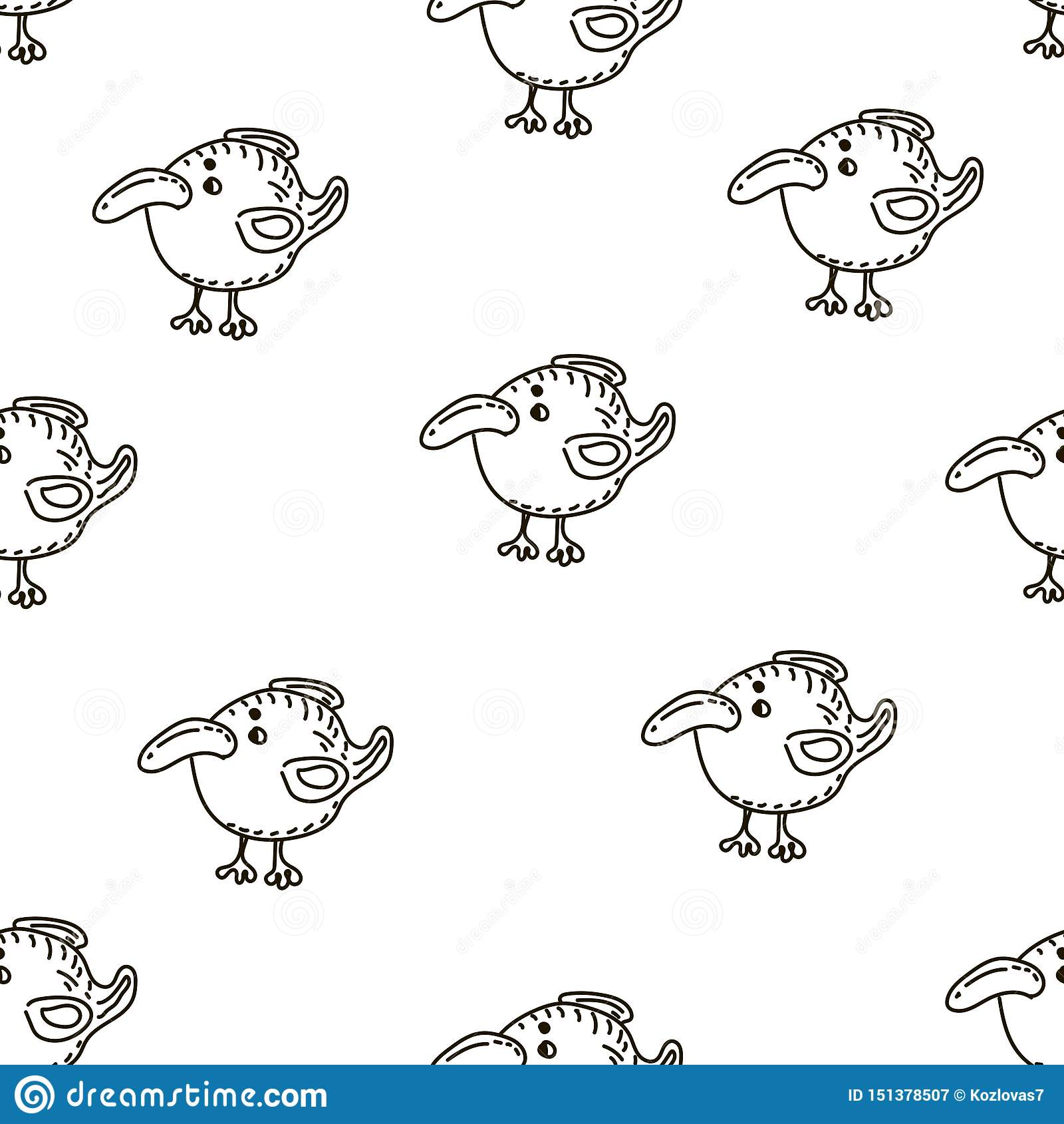 Baby seamless vector pattern. Many little birds on white background.