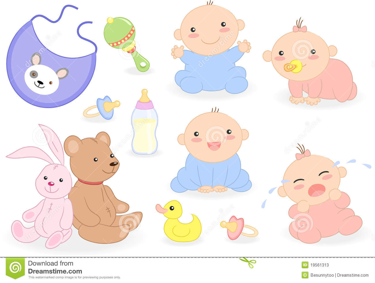 Baby Set With Babies And Accessories Stock Photos Image