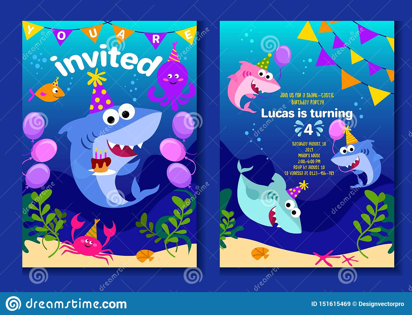 Baby Shark Party Invitation Cards Happy Birthday Greeting
