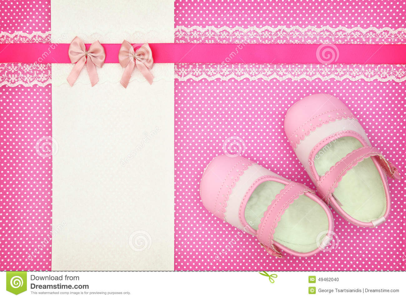 Baby Shoes And Blank Banner Stock Photo - Image: 49462040