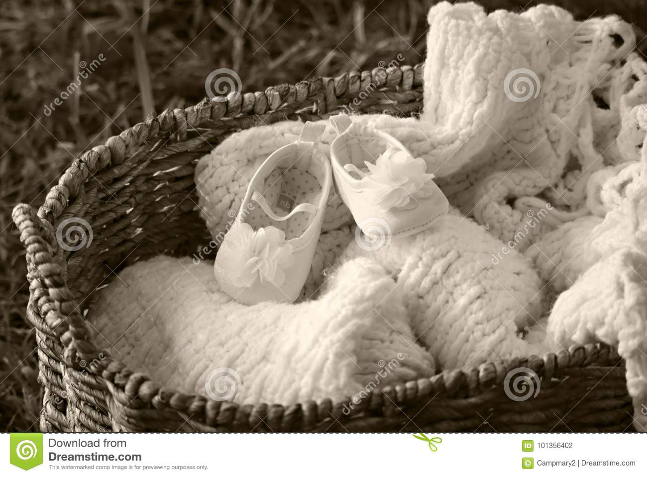 Baby Shoes And Blanket In A Basket Stock Photo Image Of Background Basket 101356402