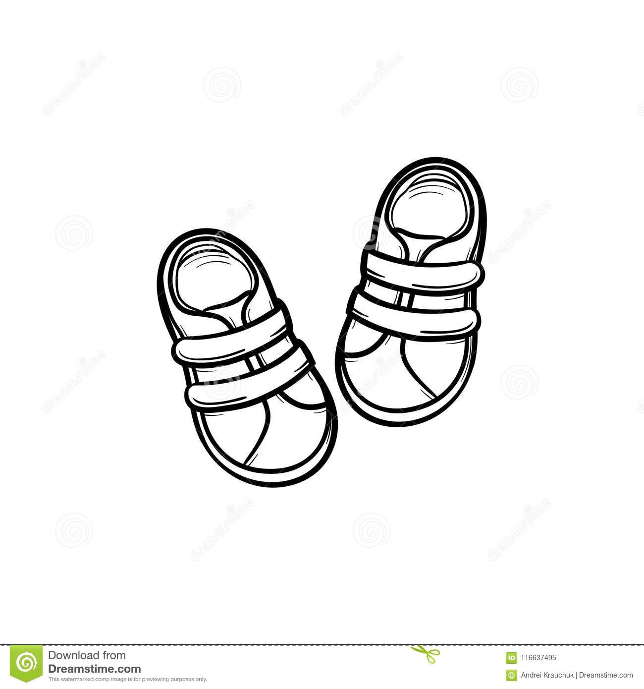 Baby Shoes Hand Drawn Outline Doodle Icon Stock Vector Illustration Of Footwear Outline 116637495