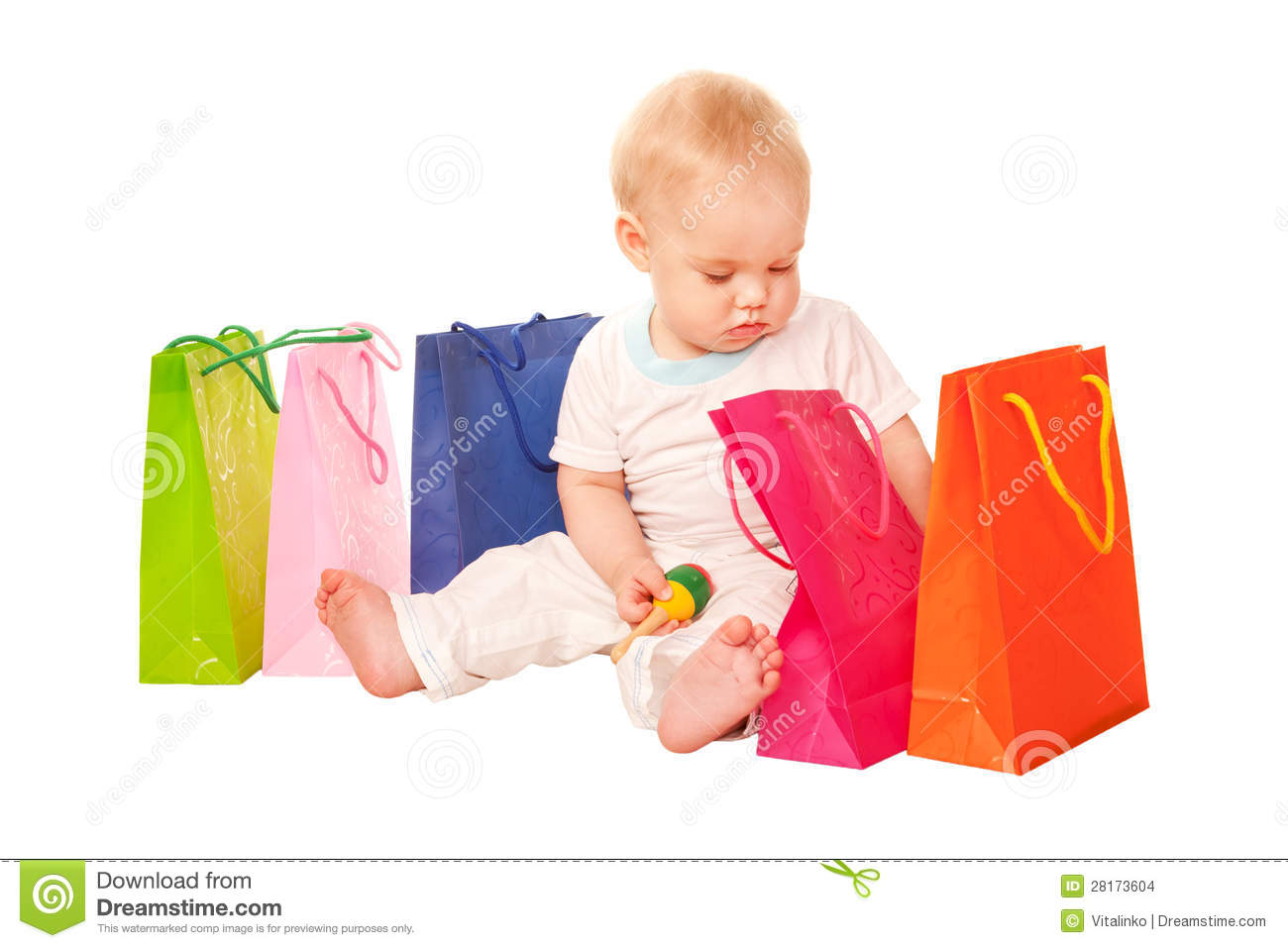 43e81e905 Baby shopping. stock photo. Image of child, holding, bags - 28173604