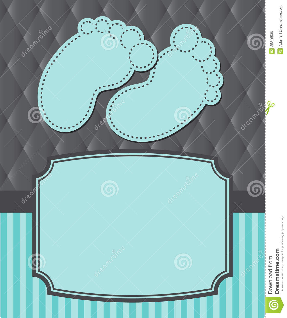 baby shower announcement with baby feet stripes and fabric background