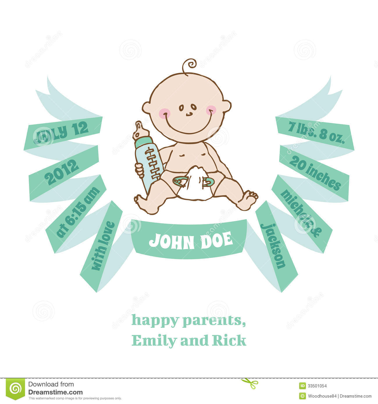 Baby boy arrival card vector by leonart image 600444 vectorstock - Baby Shower And Arrival Card Baby Theme Stock Images Wallpaper Gallery Baby Boy Shower Card