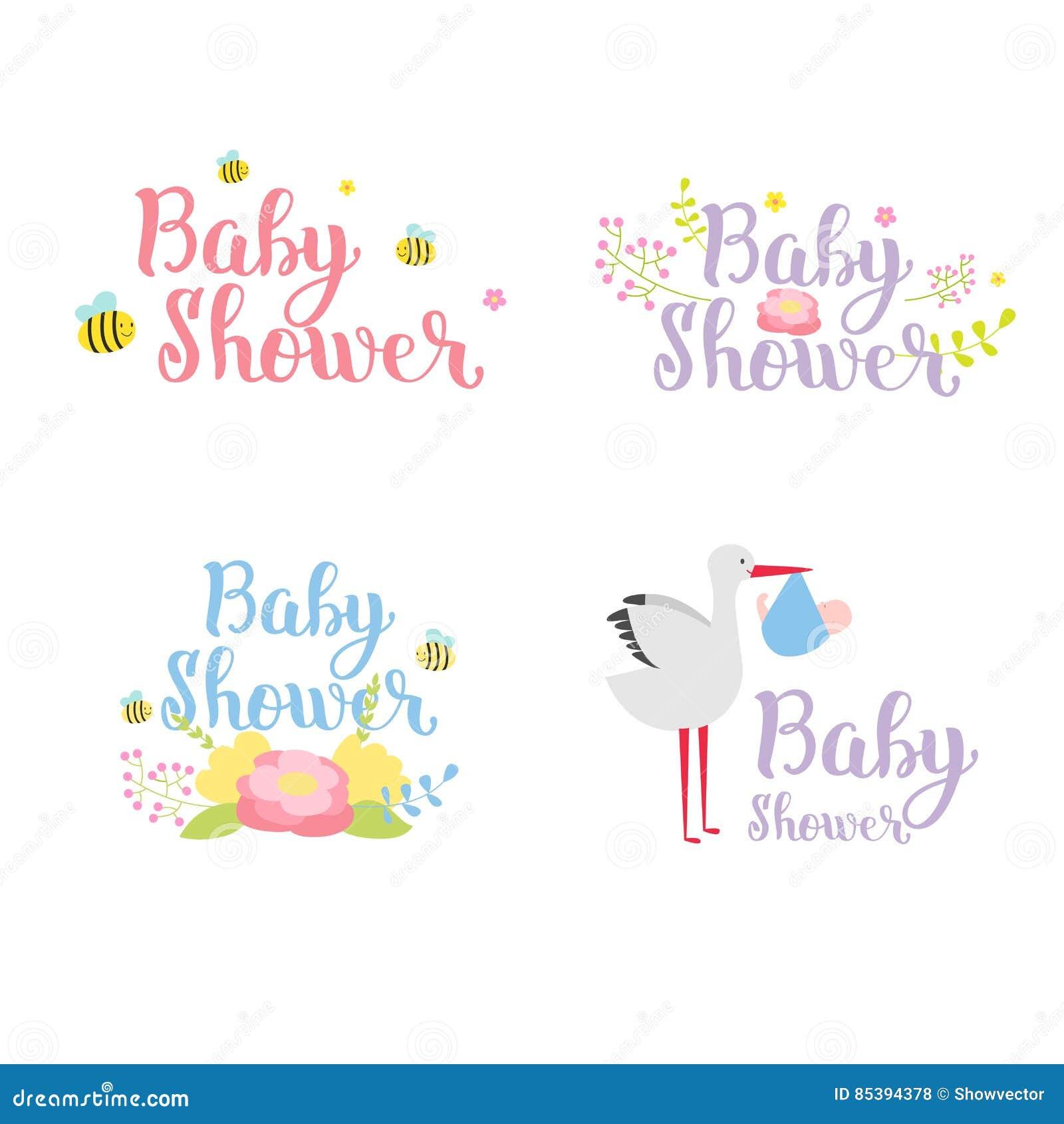 Baby Shower Badge Vector Set Stock Vector Illustration Of Border
