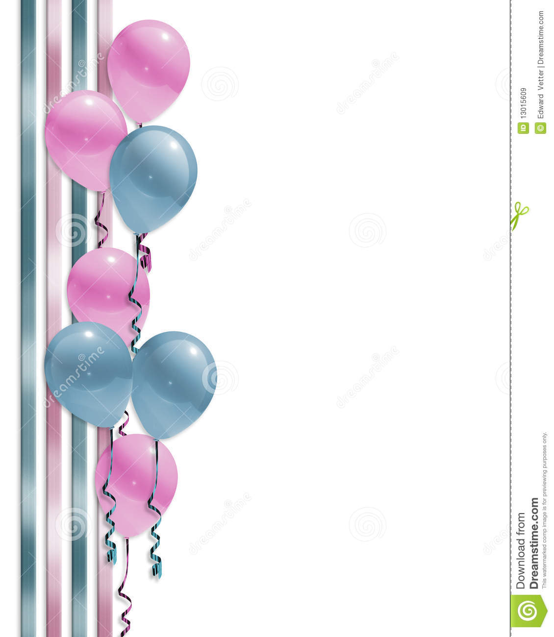 Baby Shower Balloons Border Stock Illustration - Illustration of ...