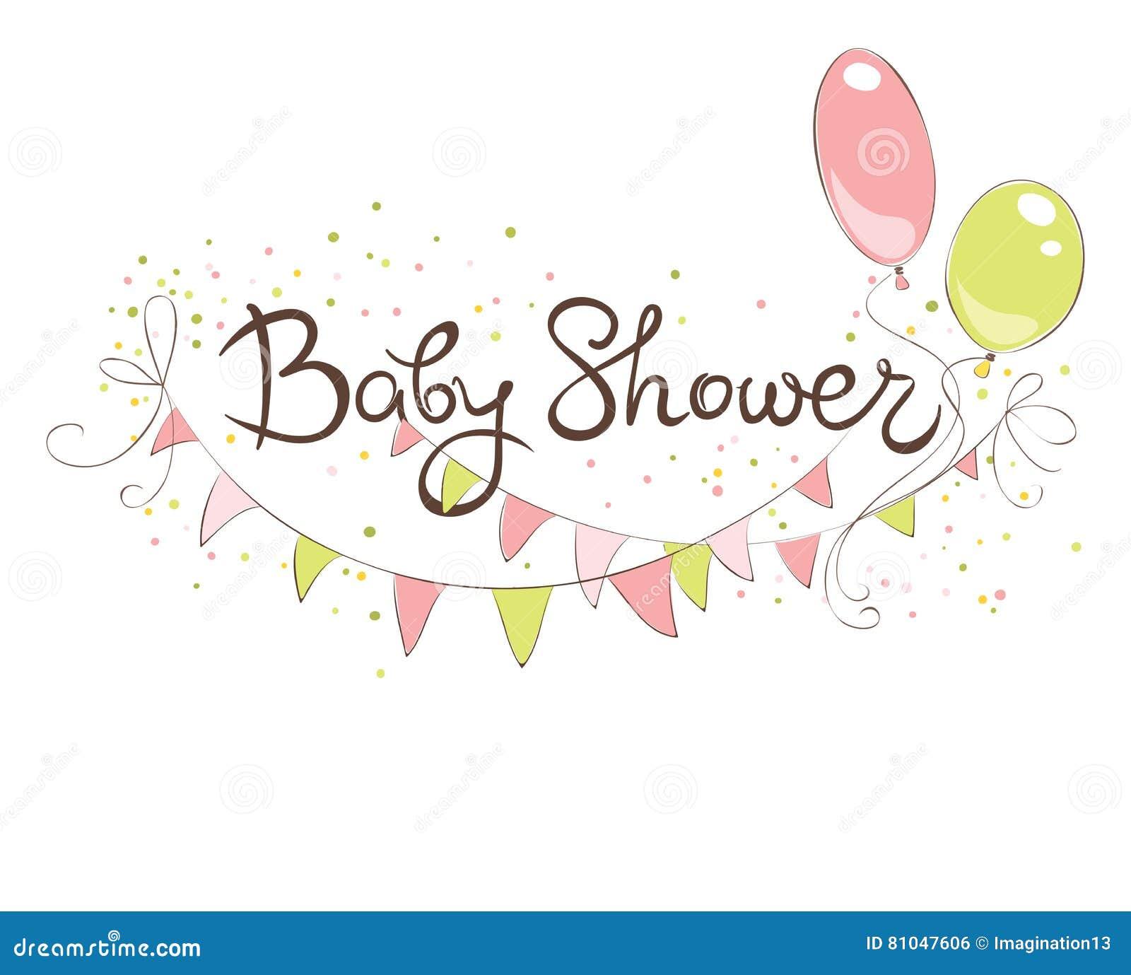 Baby Shower Banner For Girl Stock Vector Illustration Of Balloons