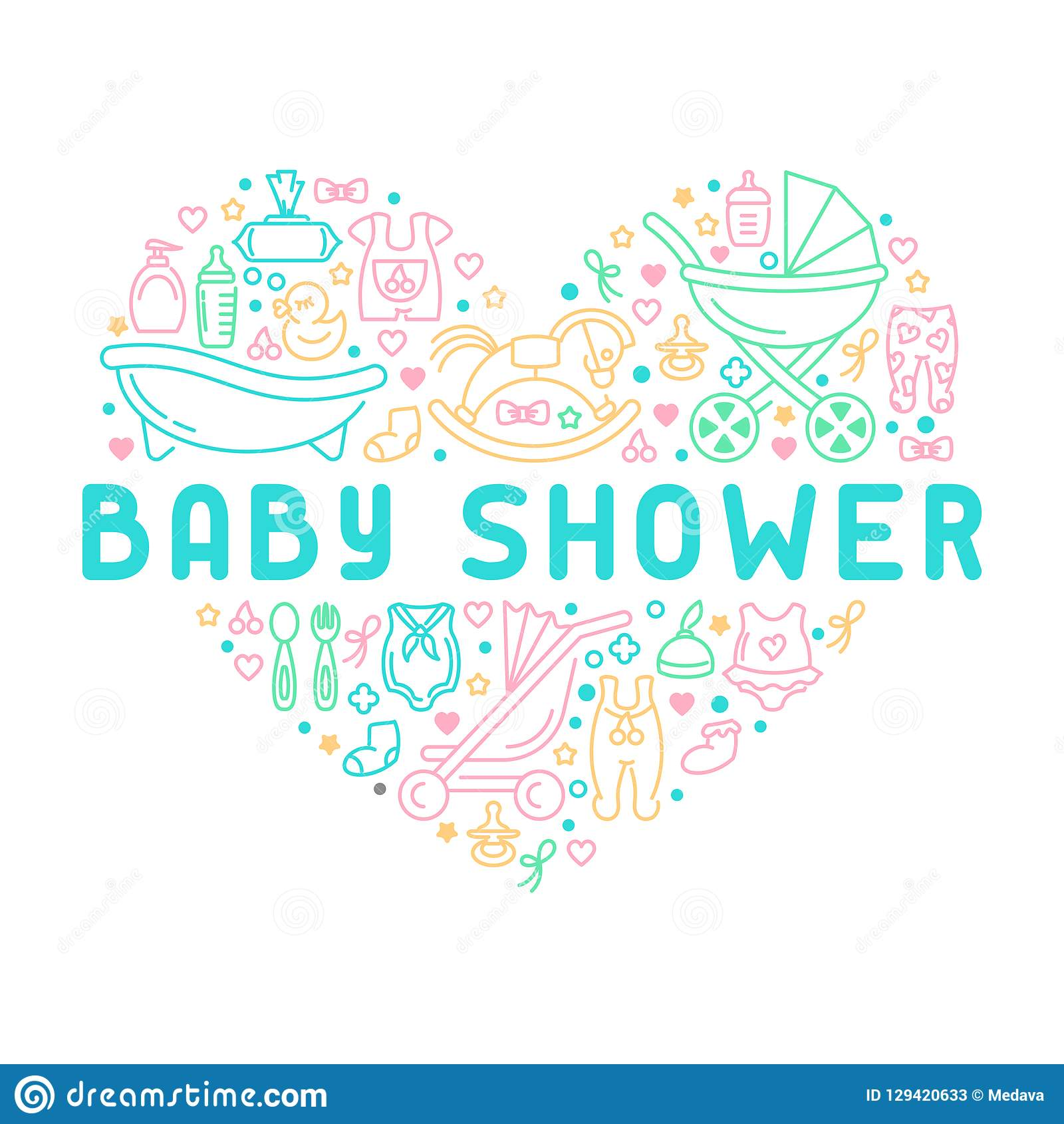 Baby Shower Banner With Infant Accessories Stock Vector
