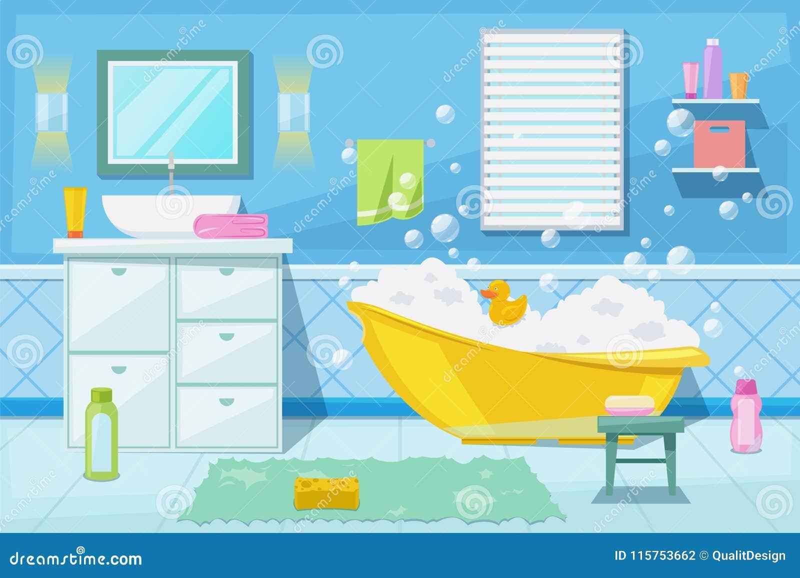 Baby Shower And Bath Room Interior, Vector Cartoon ...