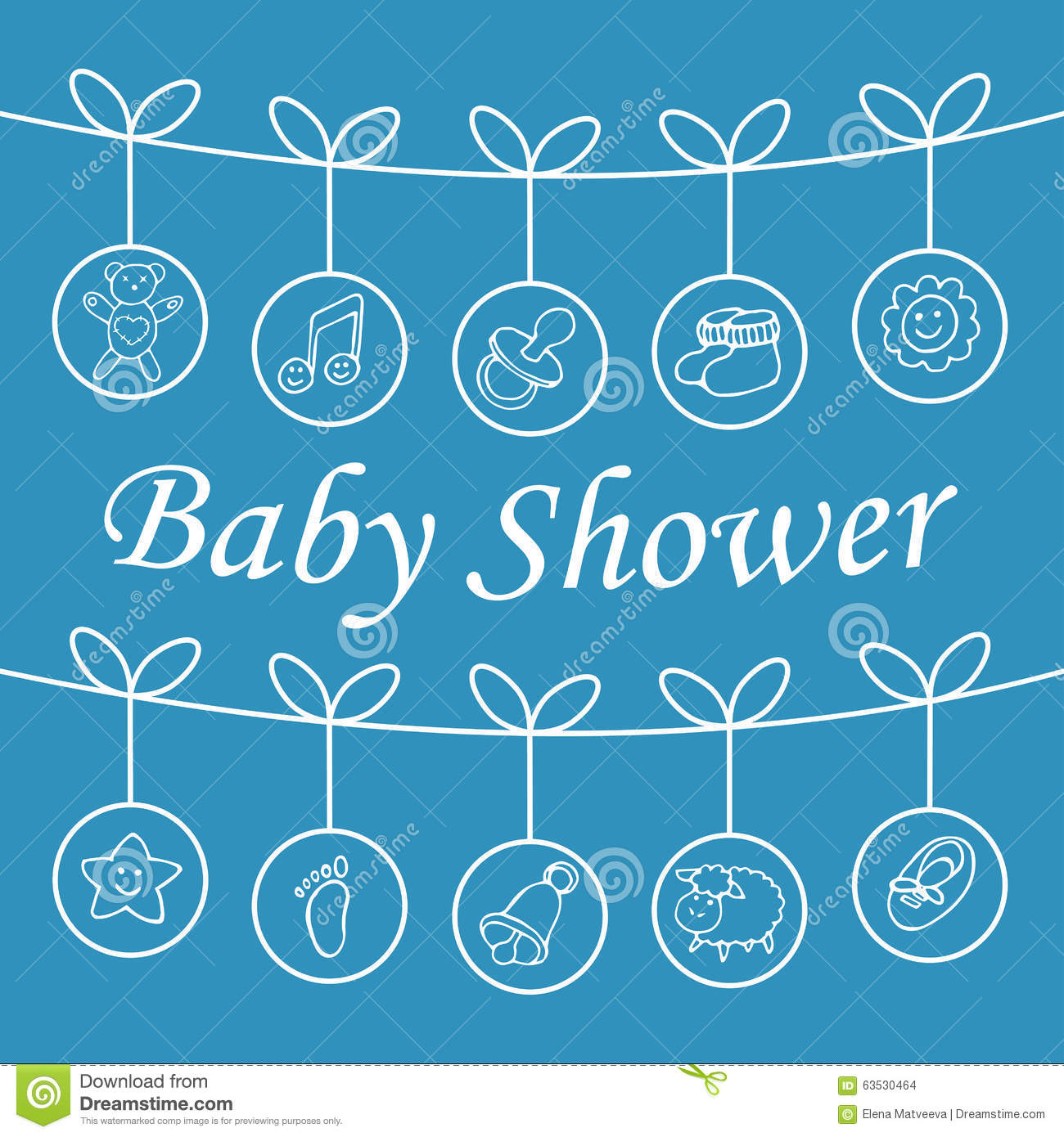 baby shower blue greeting card stock vector image 63530464