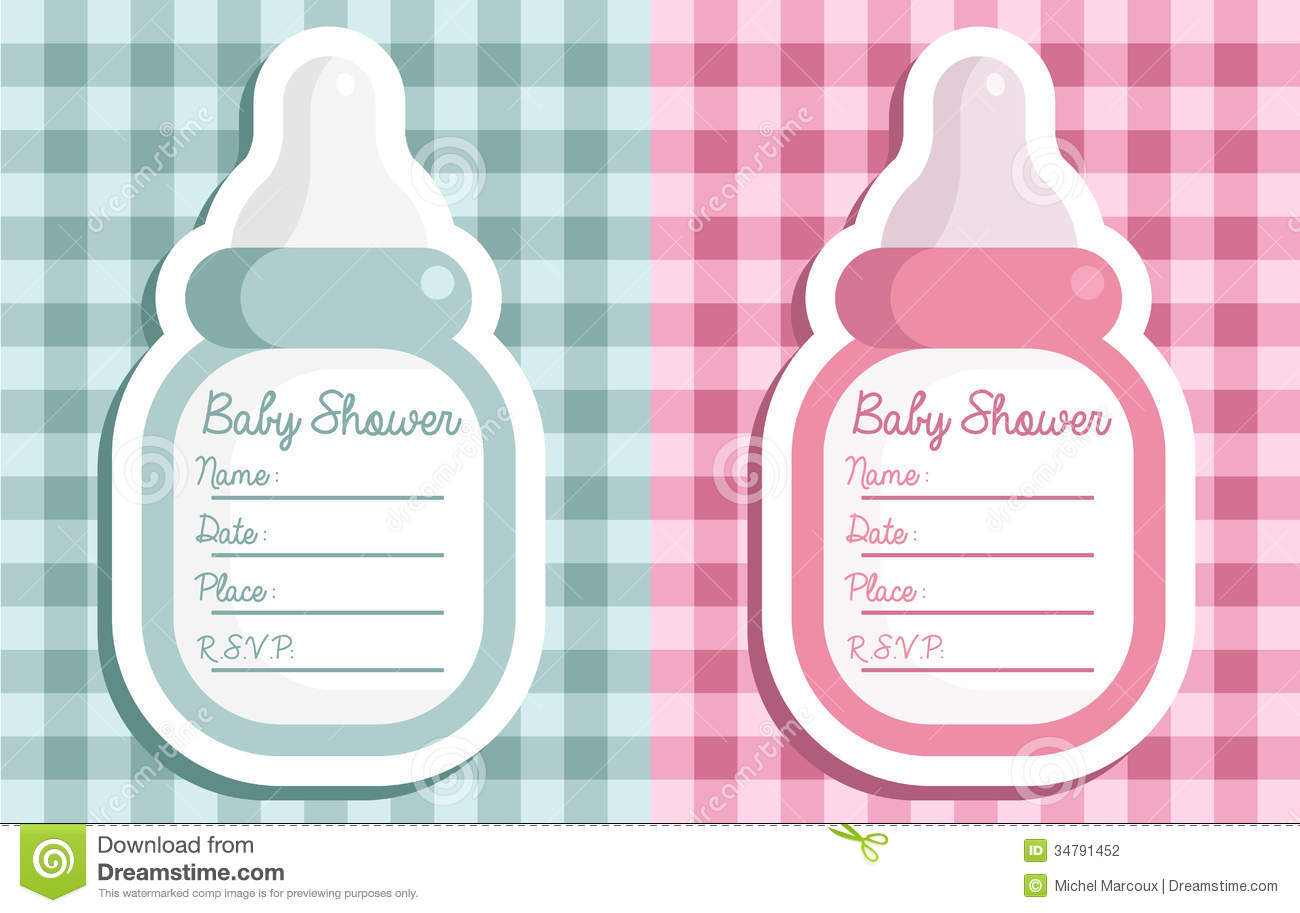 Baby Shower Bottle Invitations Stock Vector - Illustration of ...
