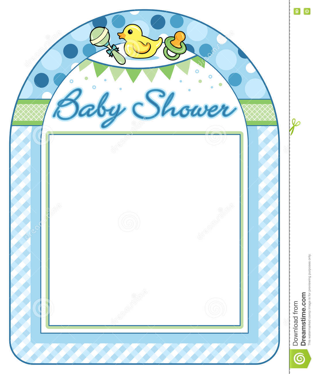 This is a baby shower frame. It is designed to print at 8 1/2 x 11 which is  standard printer paper size. This is a vector based design.
