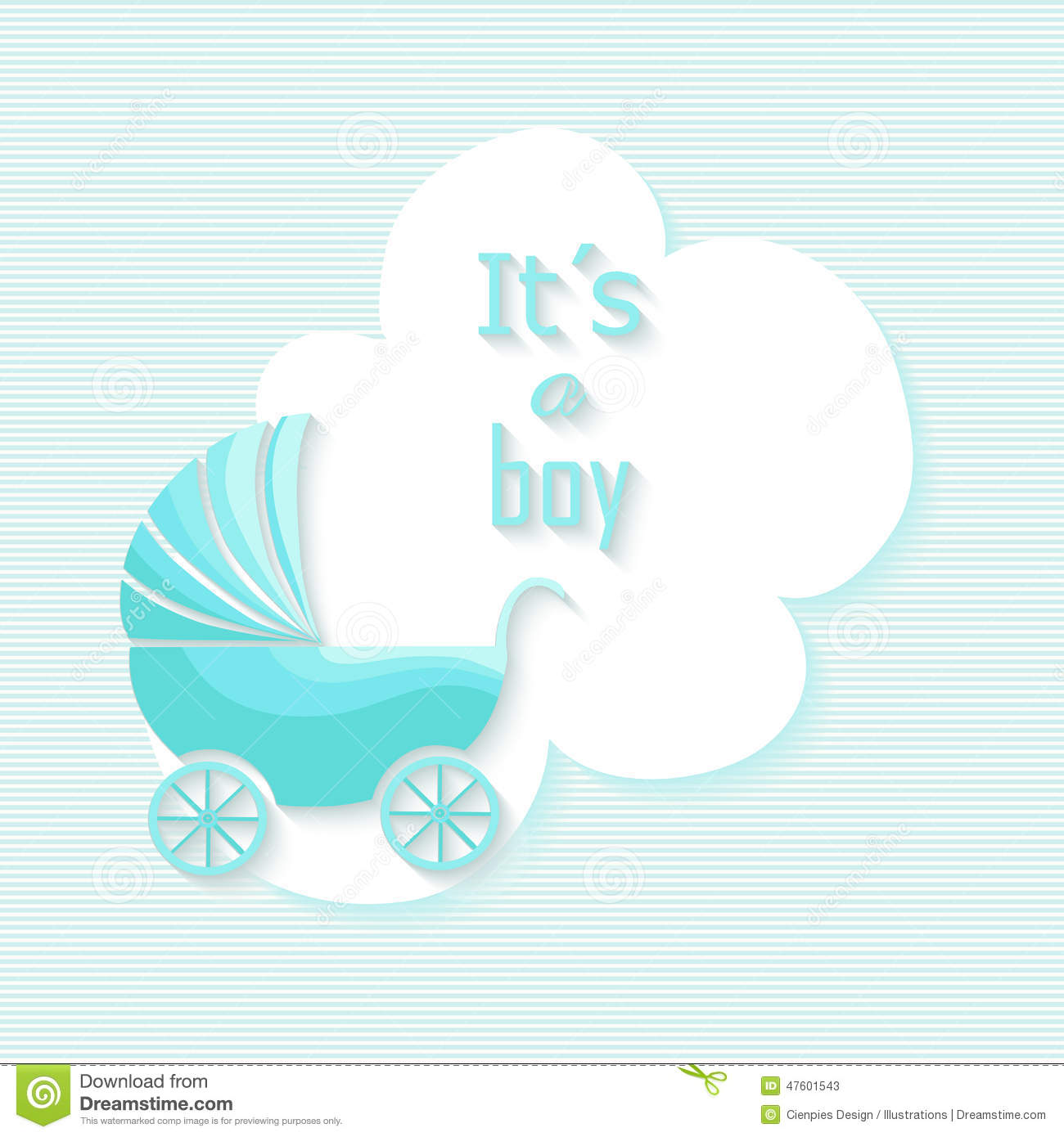 Baby shower boy invitation card with blue stroller design illustration ...