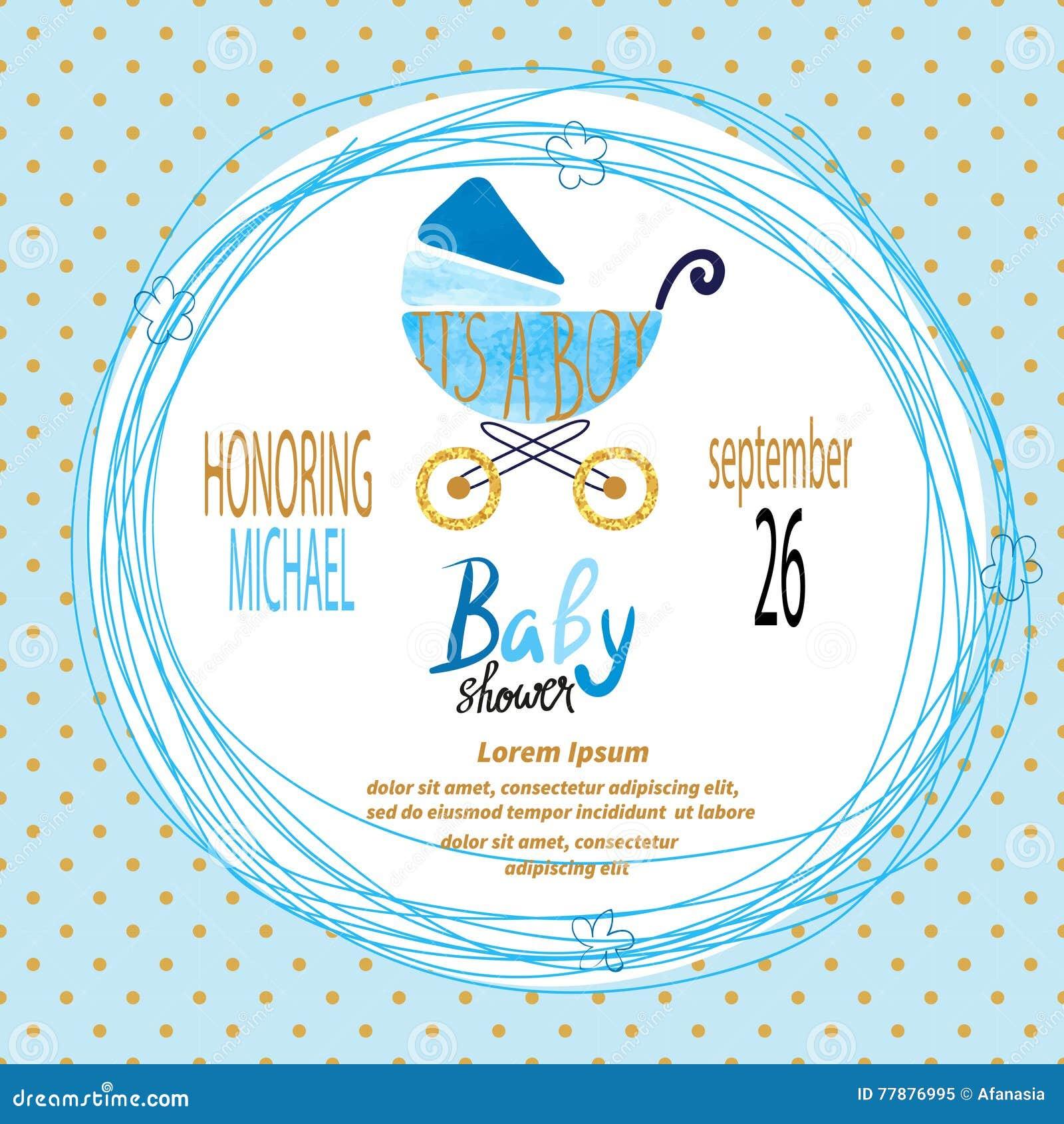 Baby shower boy vector invitation card stock vector illustration vector invitation card stock vector illustration of banner baby stopboris Gallery