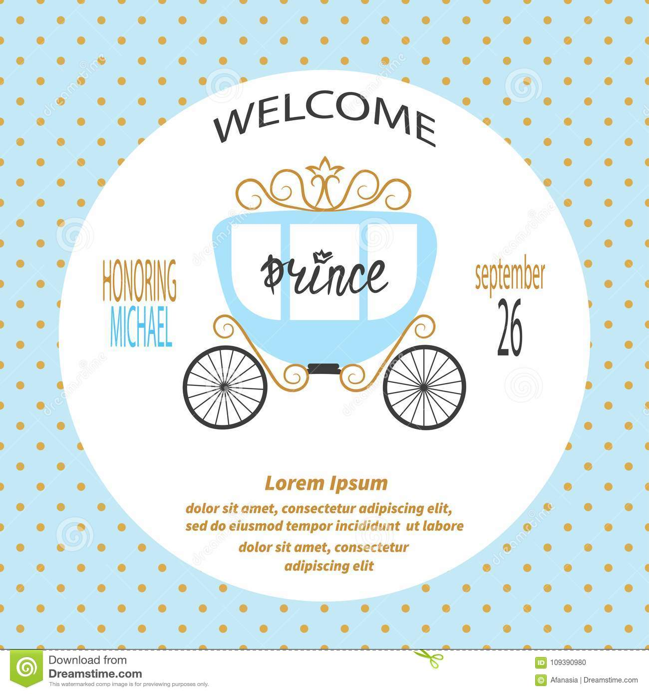 Baby Shower Boy Vector Invitation Card Design With Prince Carriage