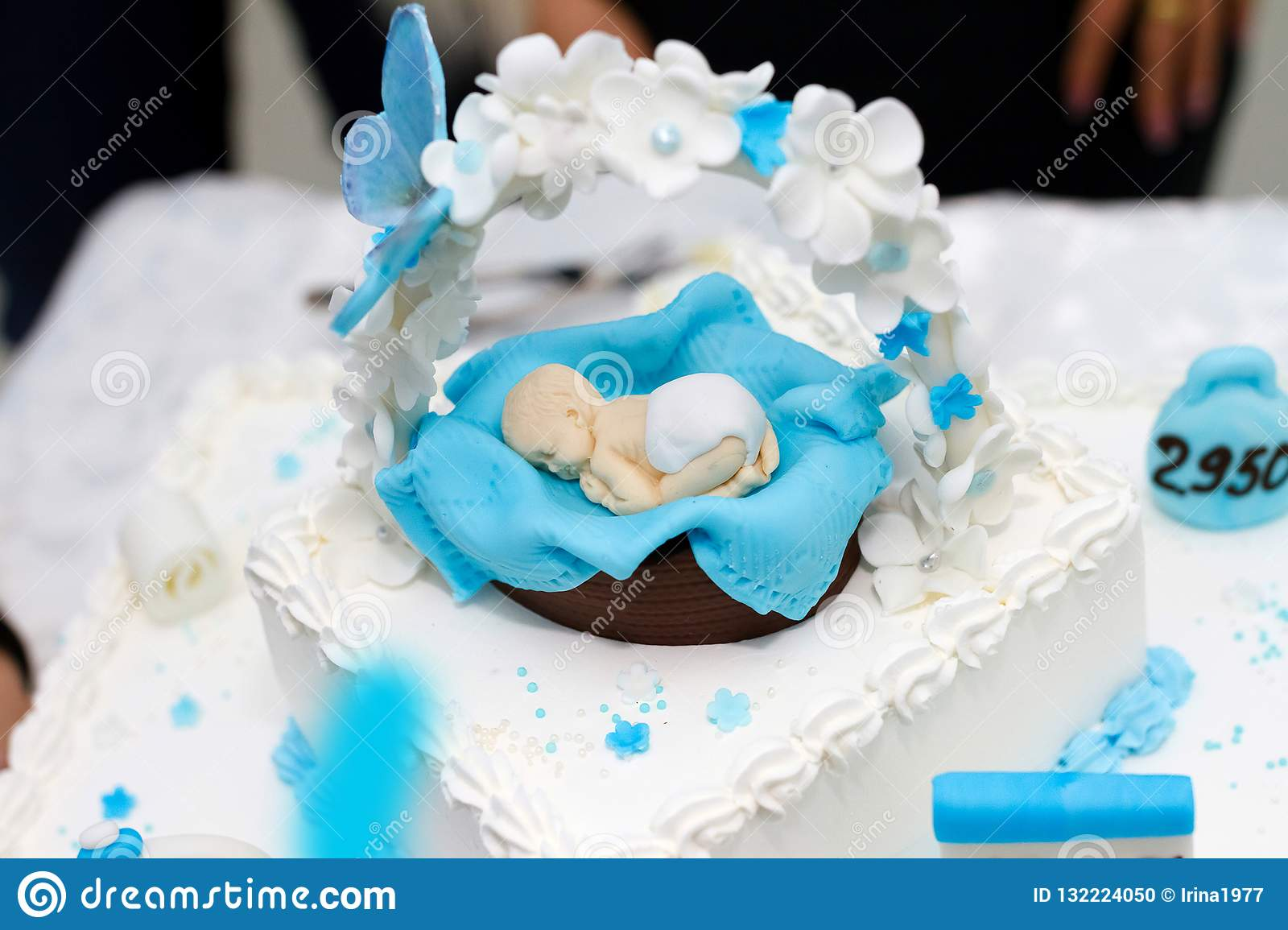Baby Shower Cake Topper Fondant Edible Blue Baby Shower