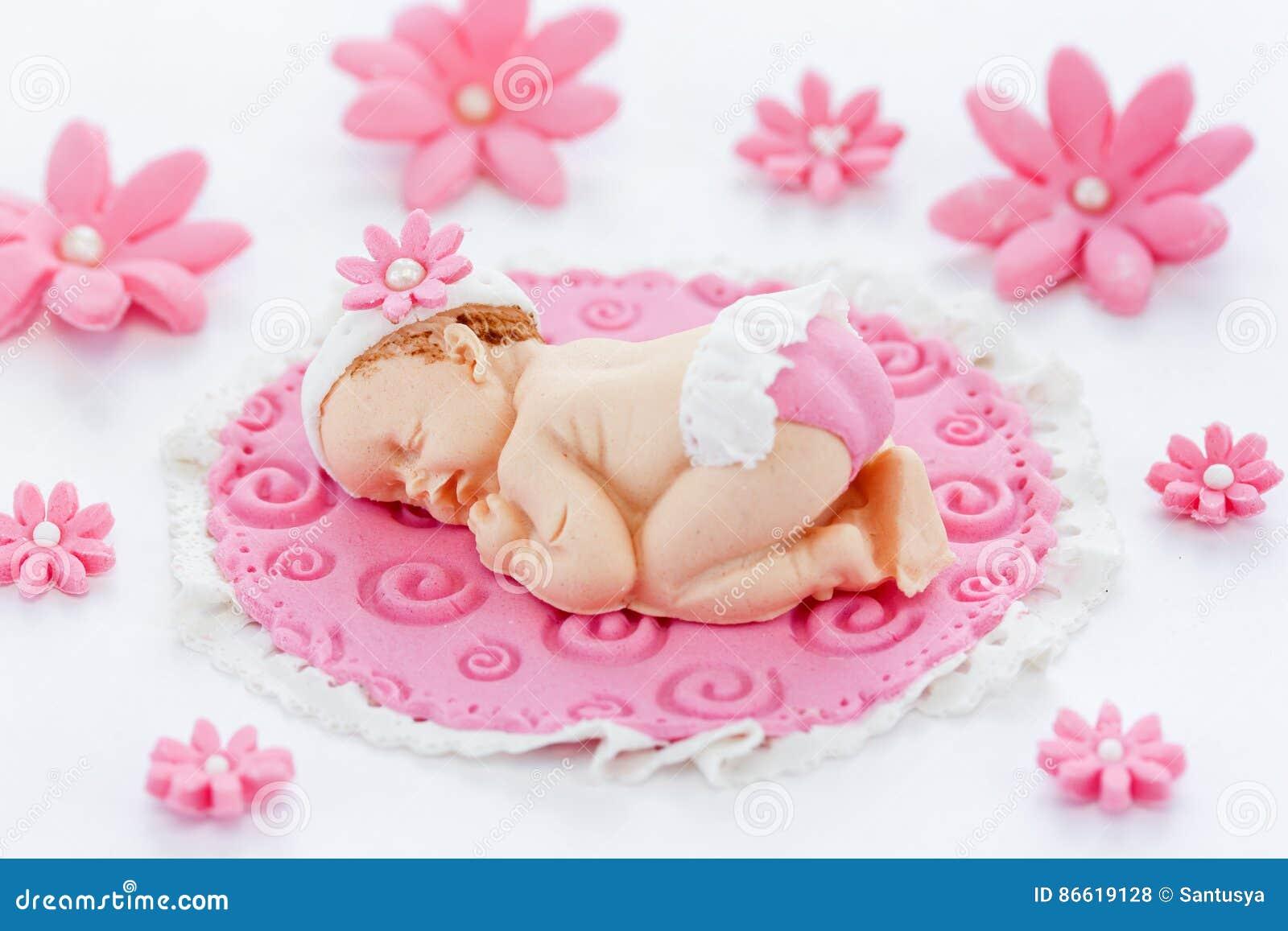 Baby shower cake topper fondant edible pink baby shower baby gir