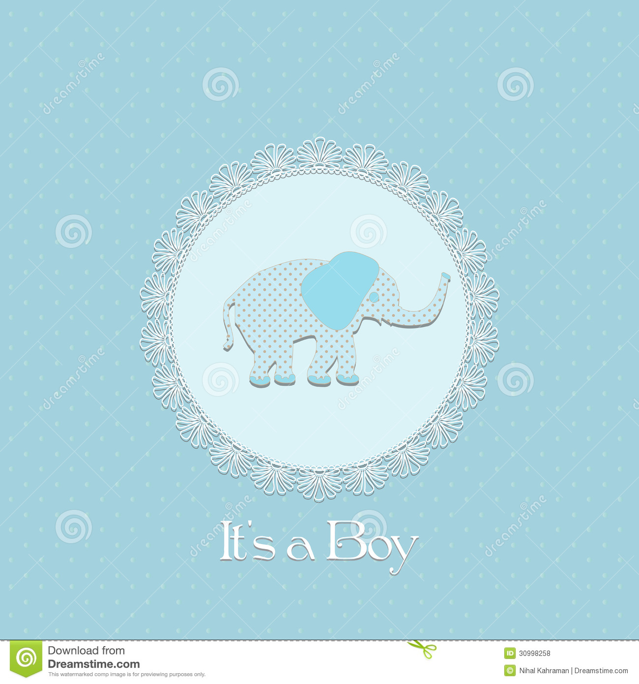 Baby Shower Card For Baby Boy, With Elephant And Lace Frame