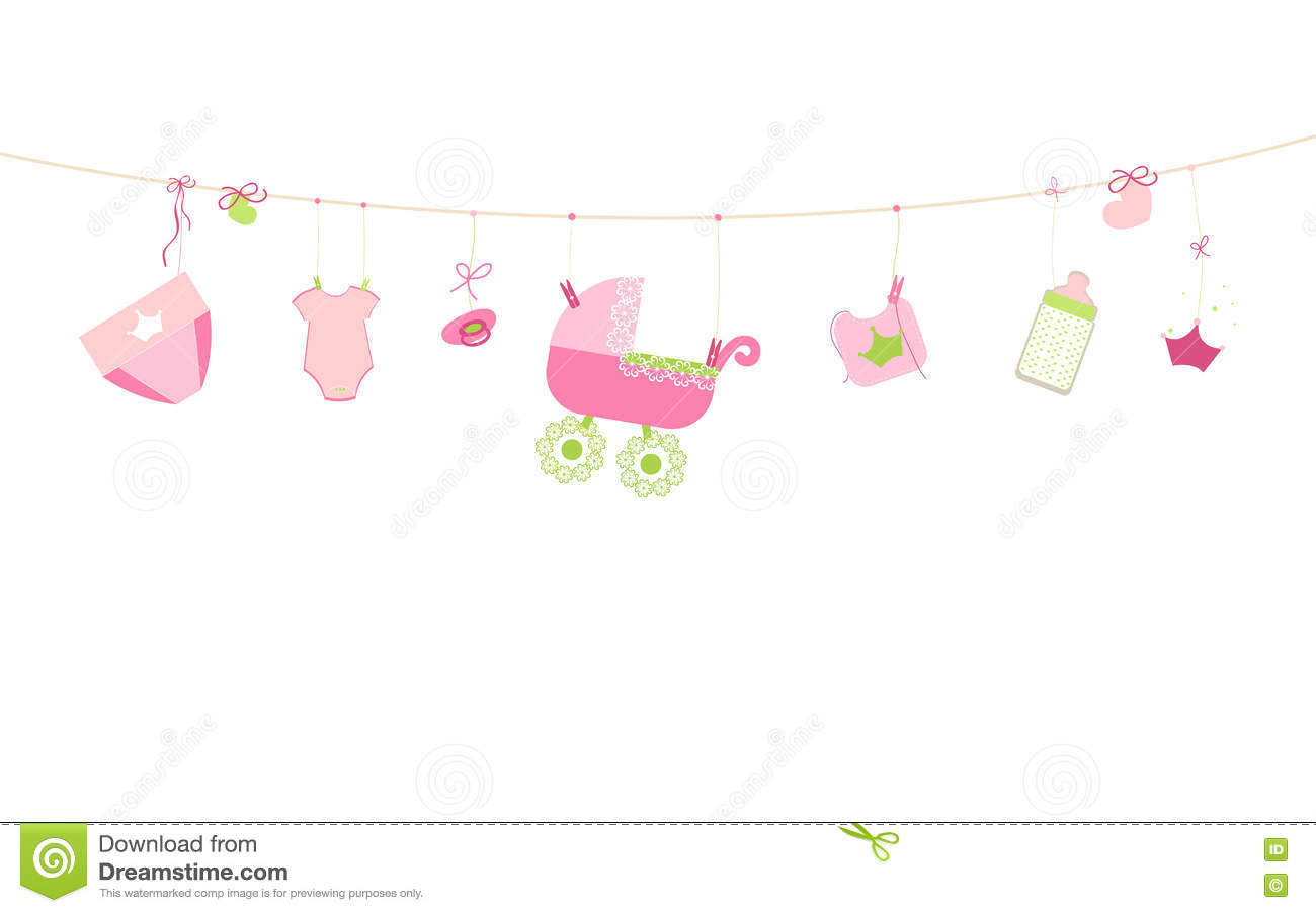 Baby shower card baby boy hanging symbols illustration stock baby shower card baby boy hanging symbols illustration birthday girl buycottarizona Gallery