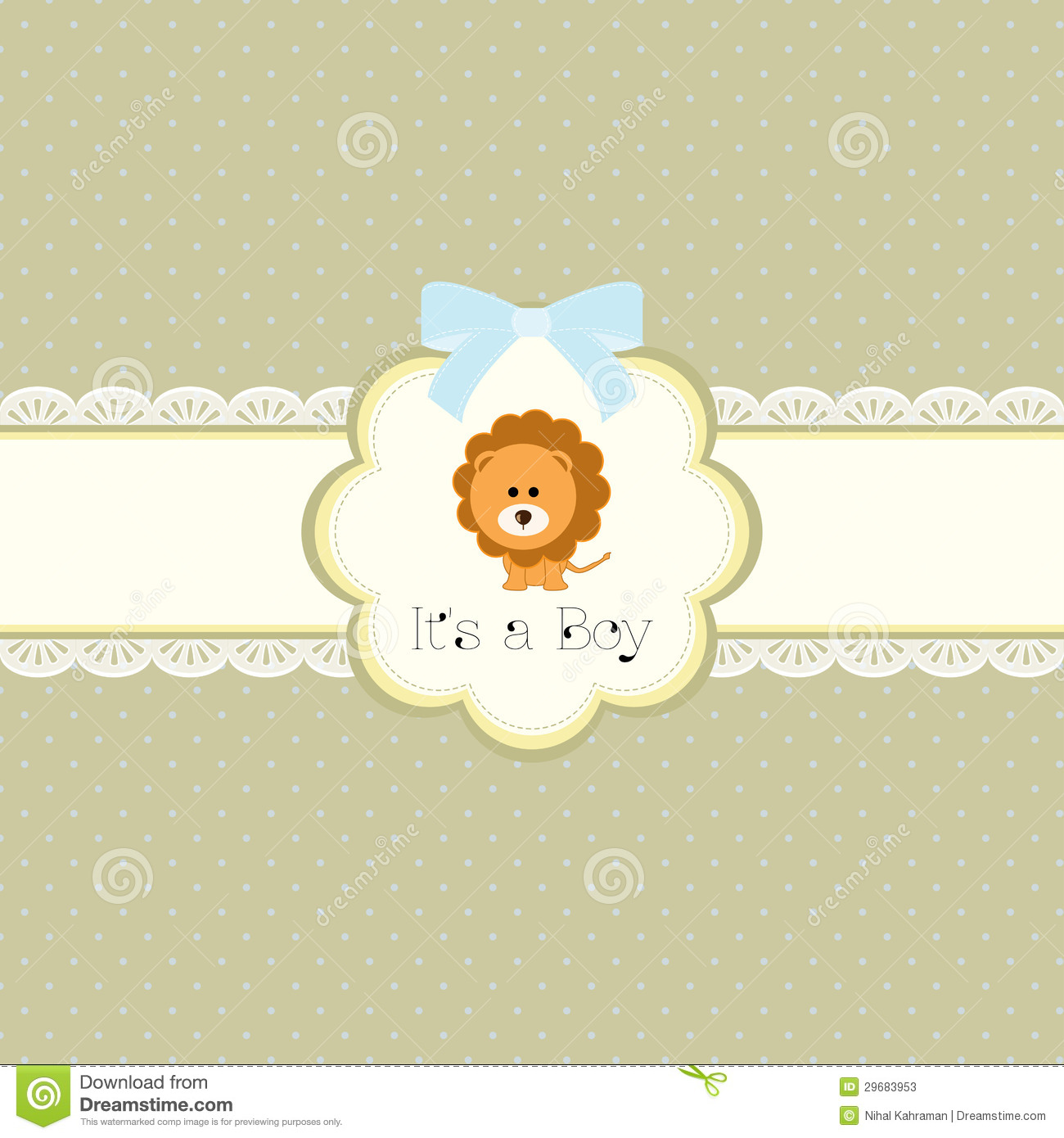 Baby Shower Card For Baby Boy With Lion Stock Photos