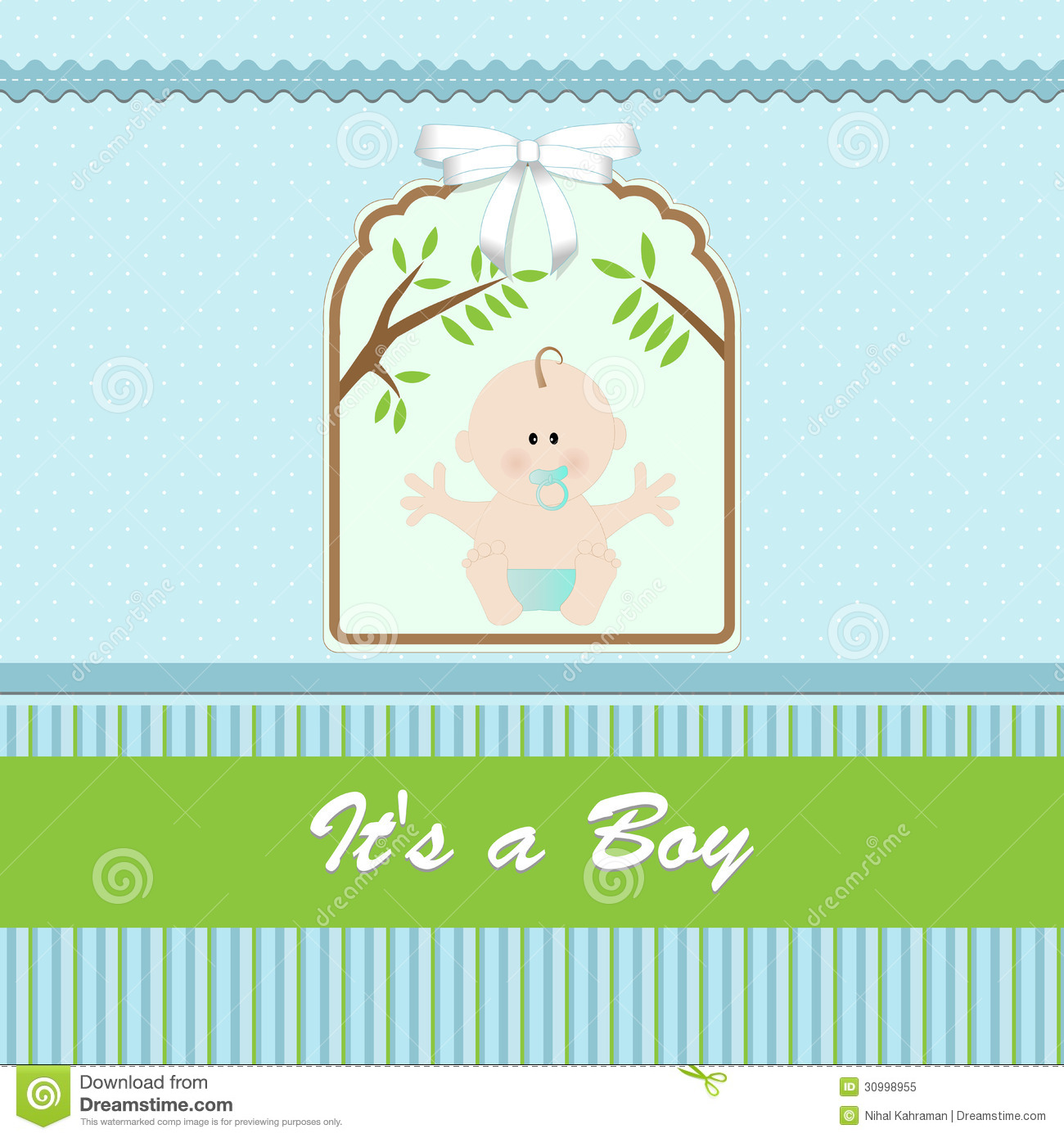 Baby Shower Card For Baby Boy With Newborn Baby Stock Illustration