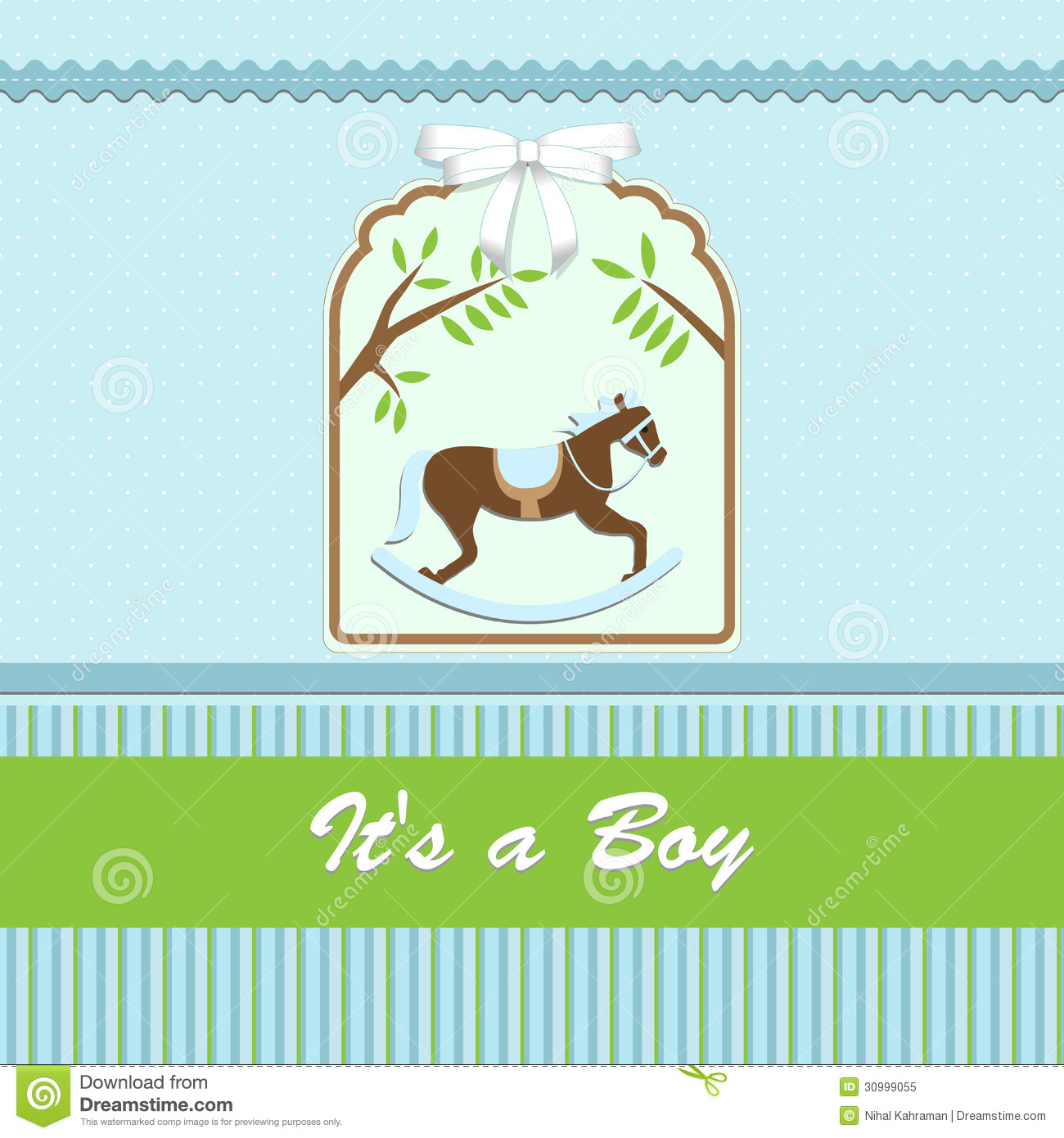 Baby Shower Card, For Baby Boy, With Rocking Horse And ...