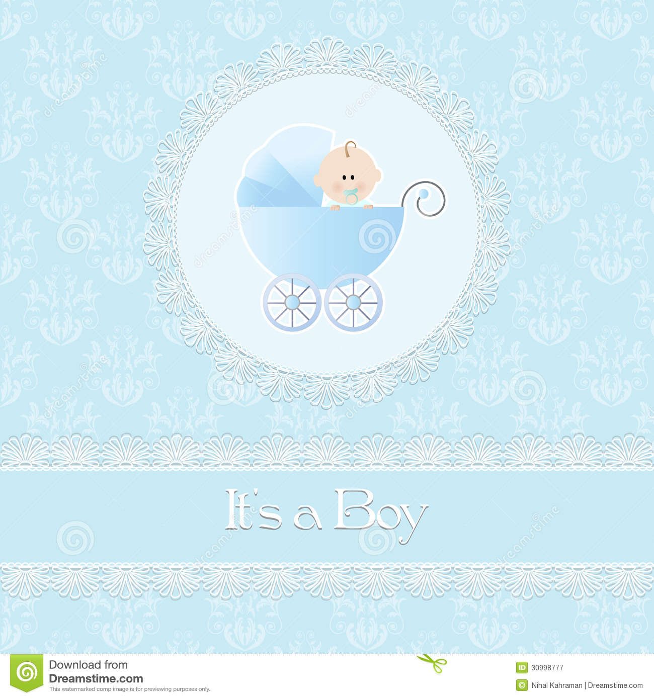 Royalty Free Stock Photography: Baby shower card, for baby boy, with ...