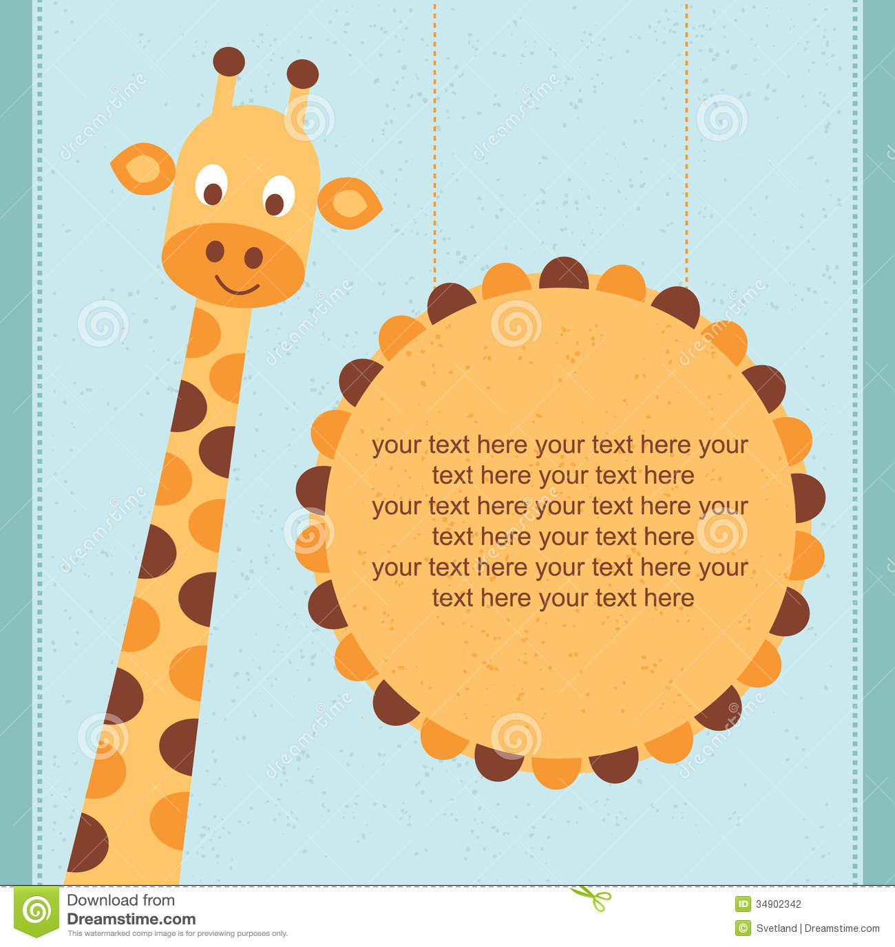 Baby Shower Card / Birthday Card With Giraffe. Stock Vector ...